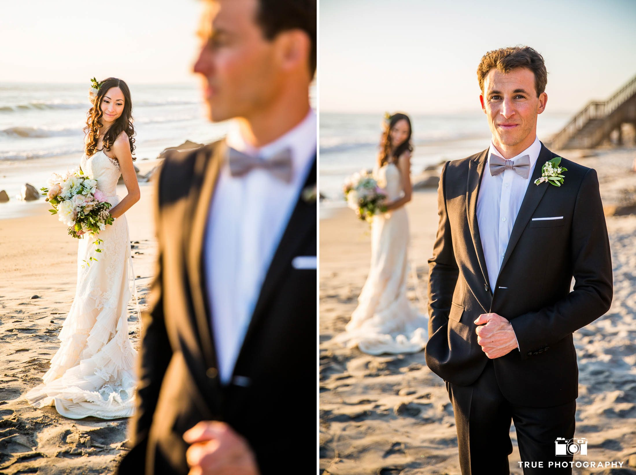 Creative beach portraits of newlyweds at Carlsbad beach