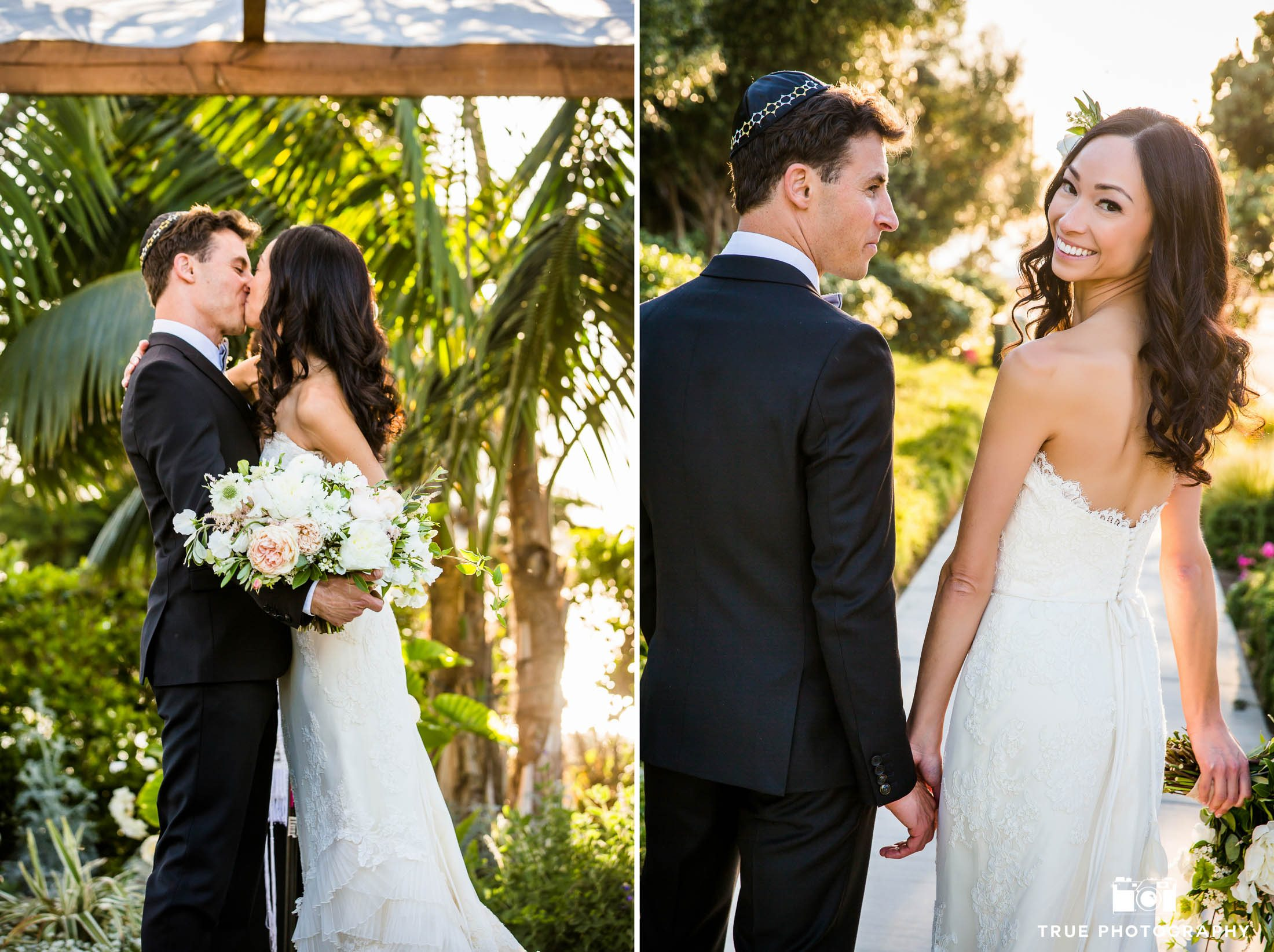Carlsbad Beach Resort Wedding couple's first kiss during ceremony