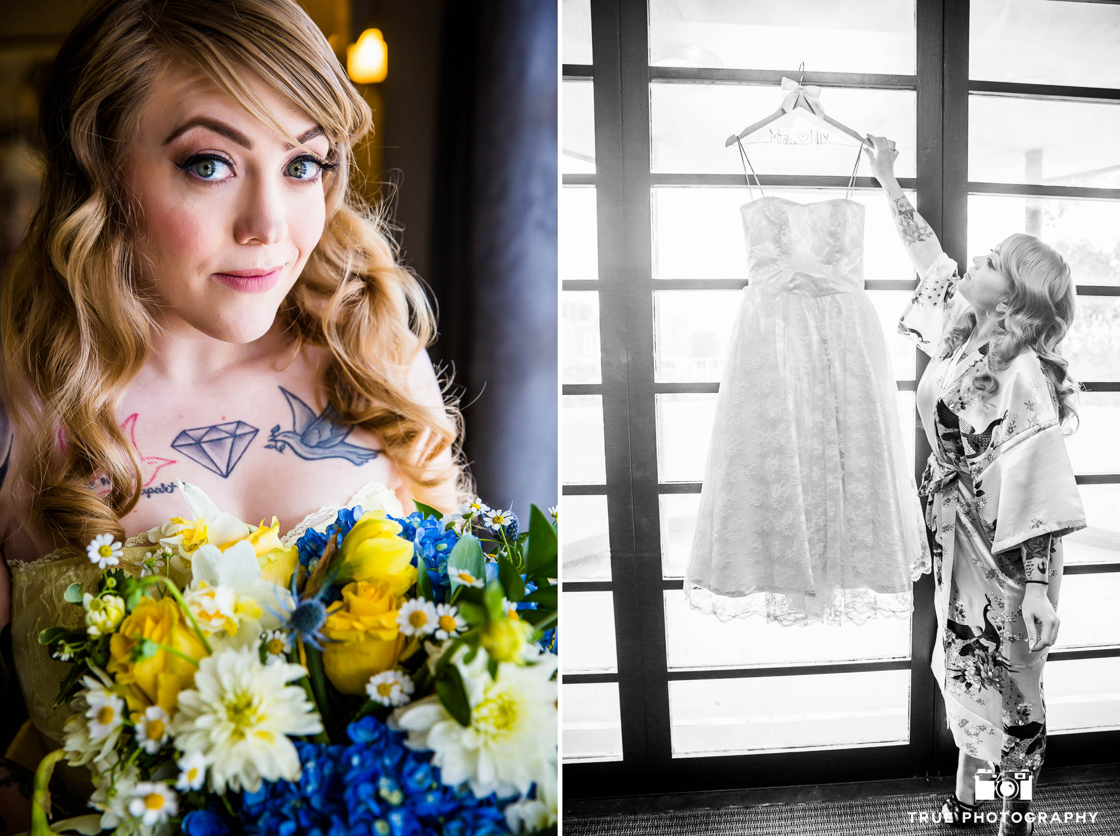 Bride posing with Wedding Dress and Bouquet of Flowers