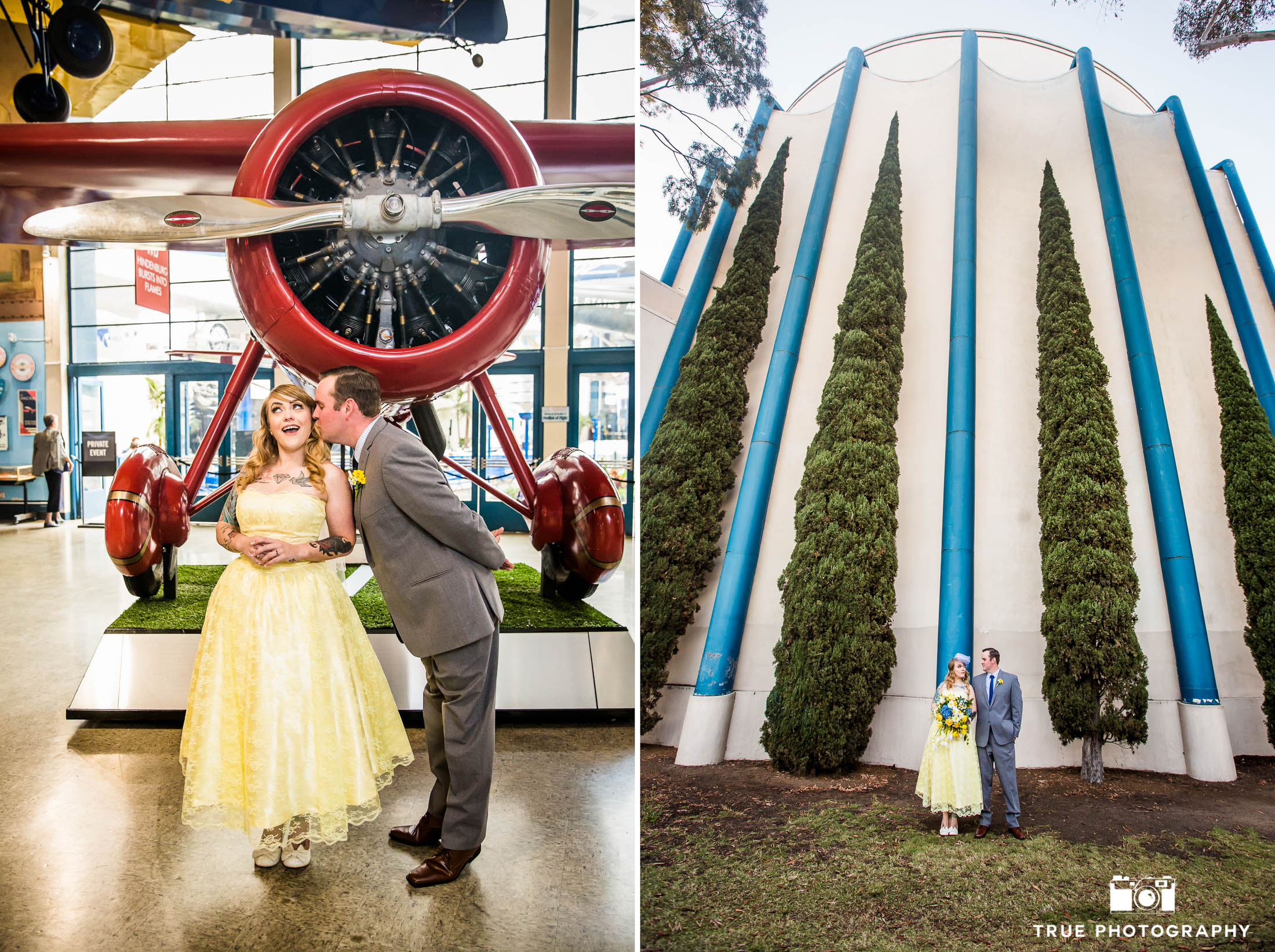 Bride and Groom pose in front of red plane at museum