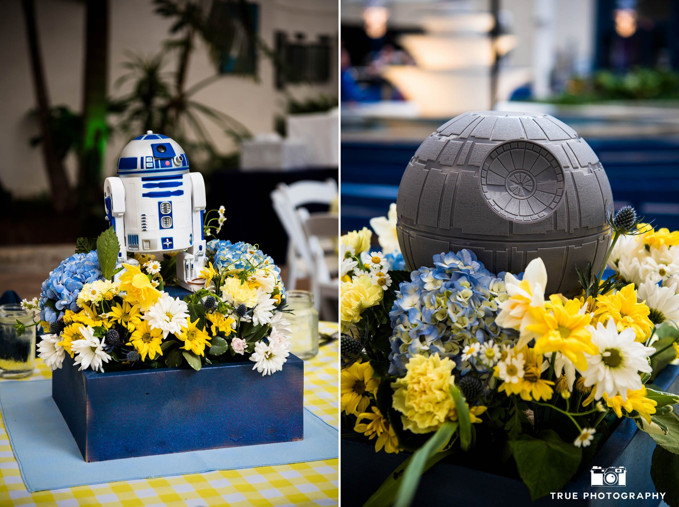 Stars Wars themed centerpieces during reception at Air and Space museum
