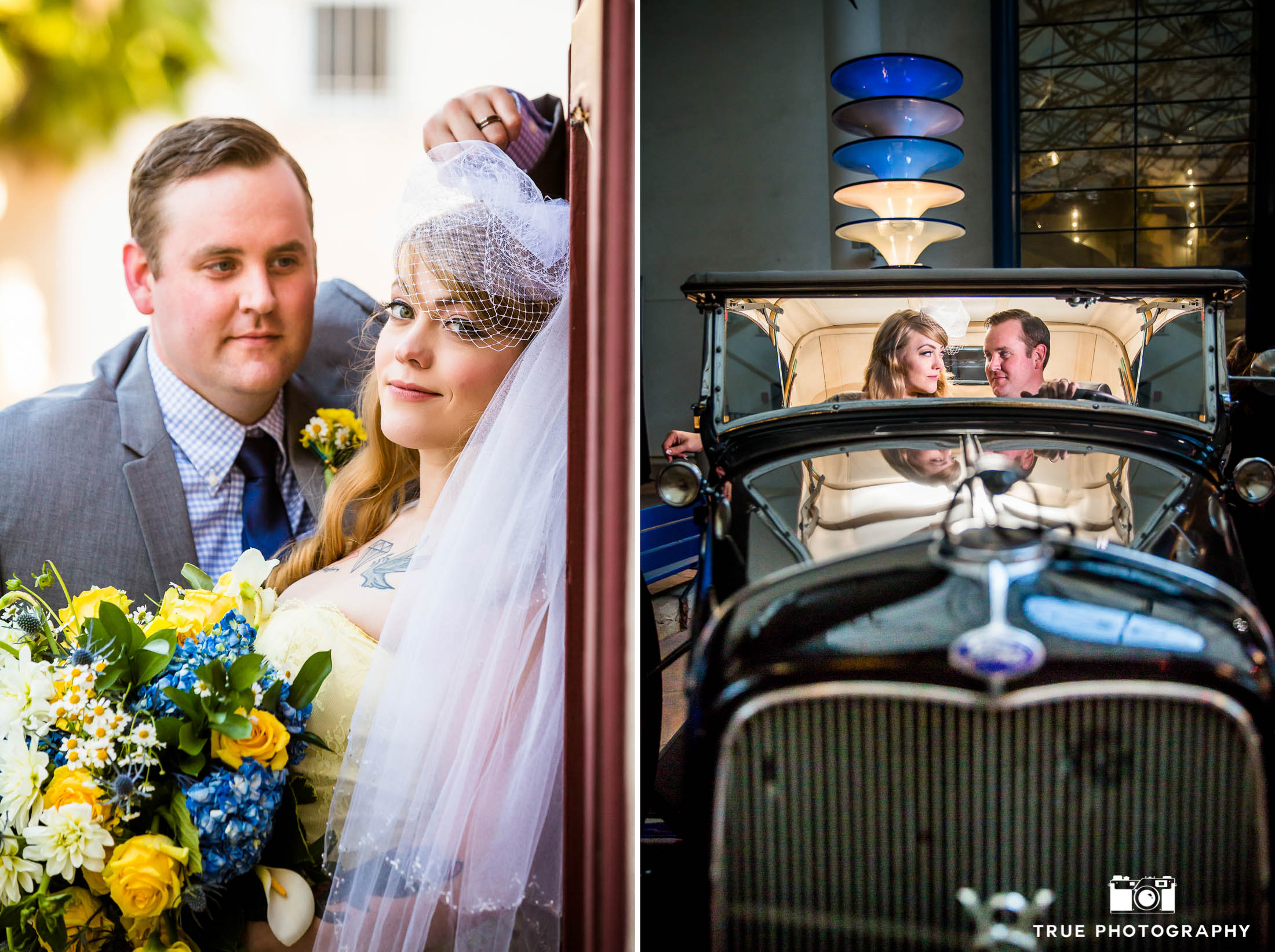 Bride and Groom pose in classic car for 1950's themed photoshoot