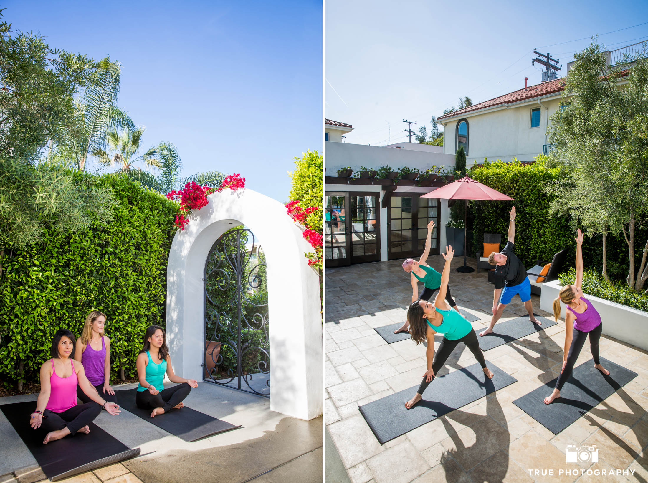 Yoga instruction at Hotel Marisol in Coronado