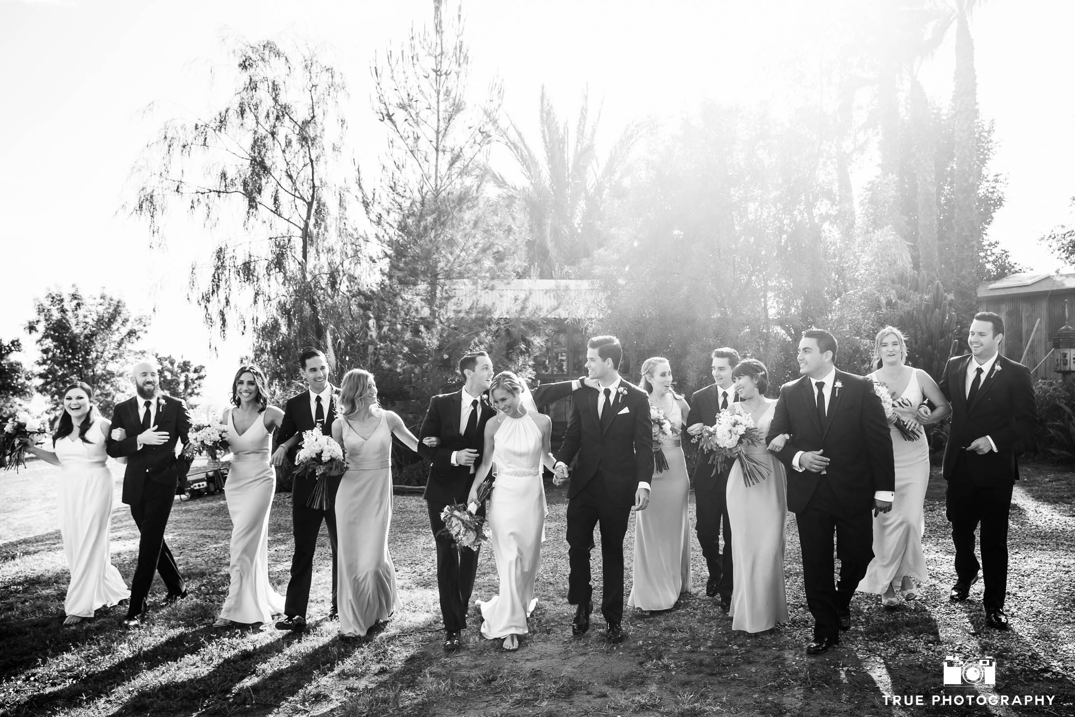 Black and white photo of wedding couple walk with bridal party at rustic ranch