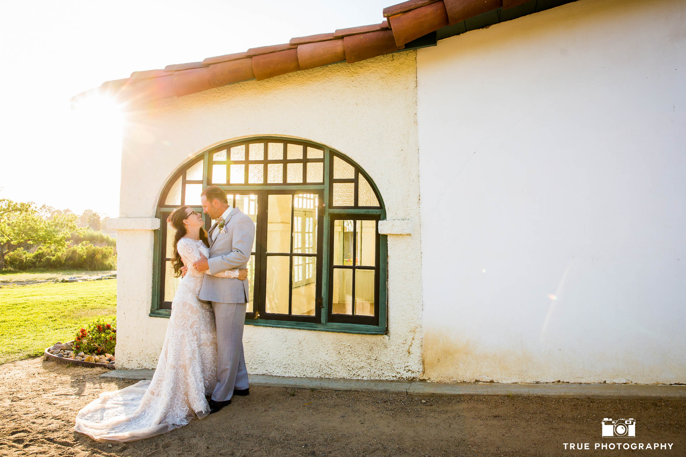 Romantic Wedding Couple Portraits at Spanish-style ranch wedding venue