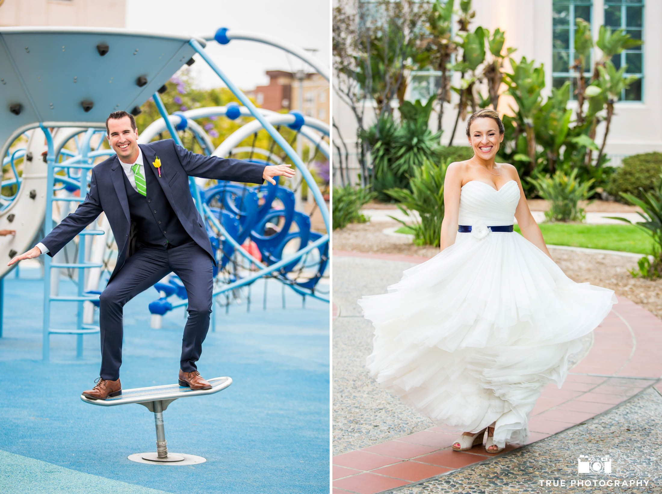 Bride and Groom at Waterfront Park Playground