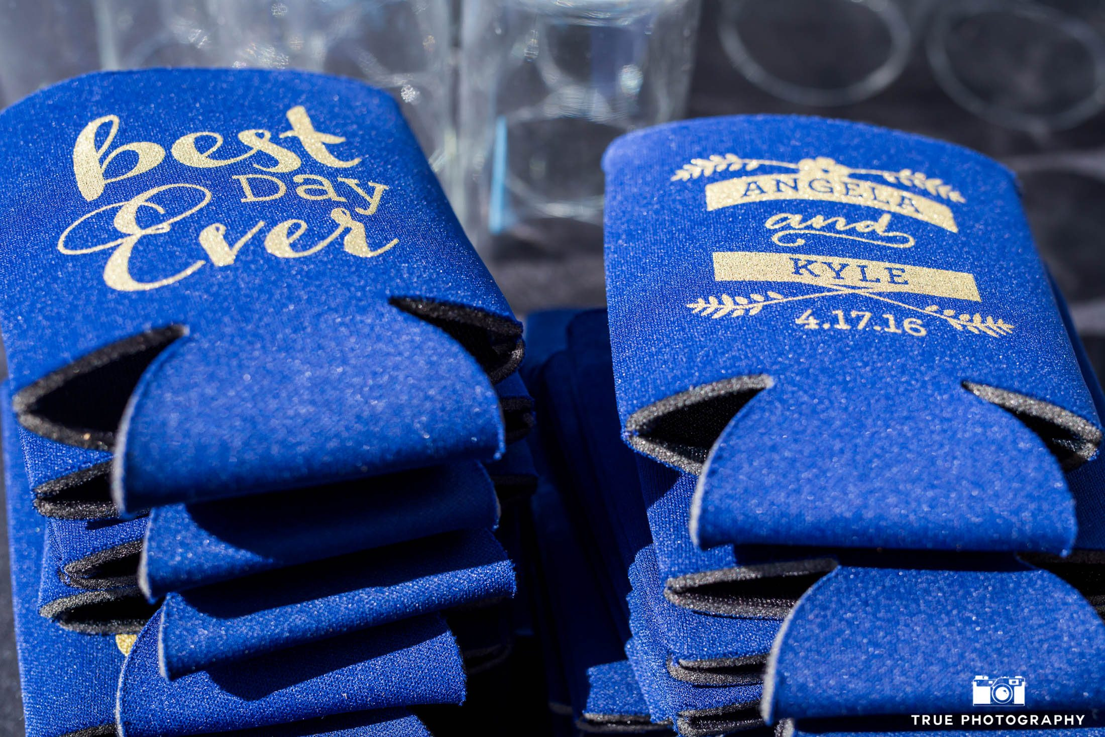 Blue wedding beer cozies