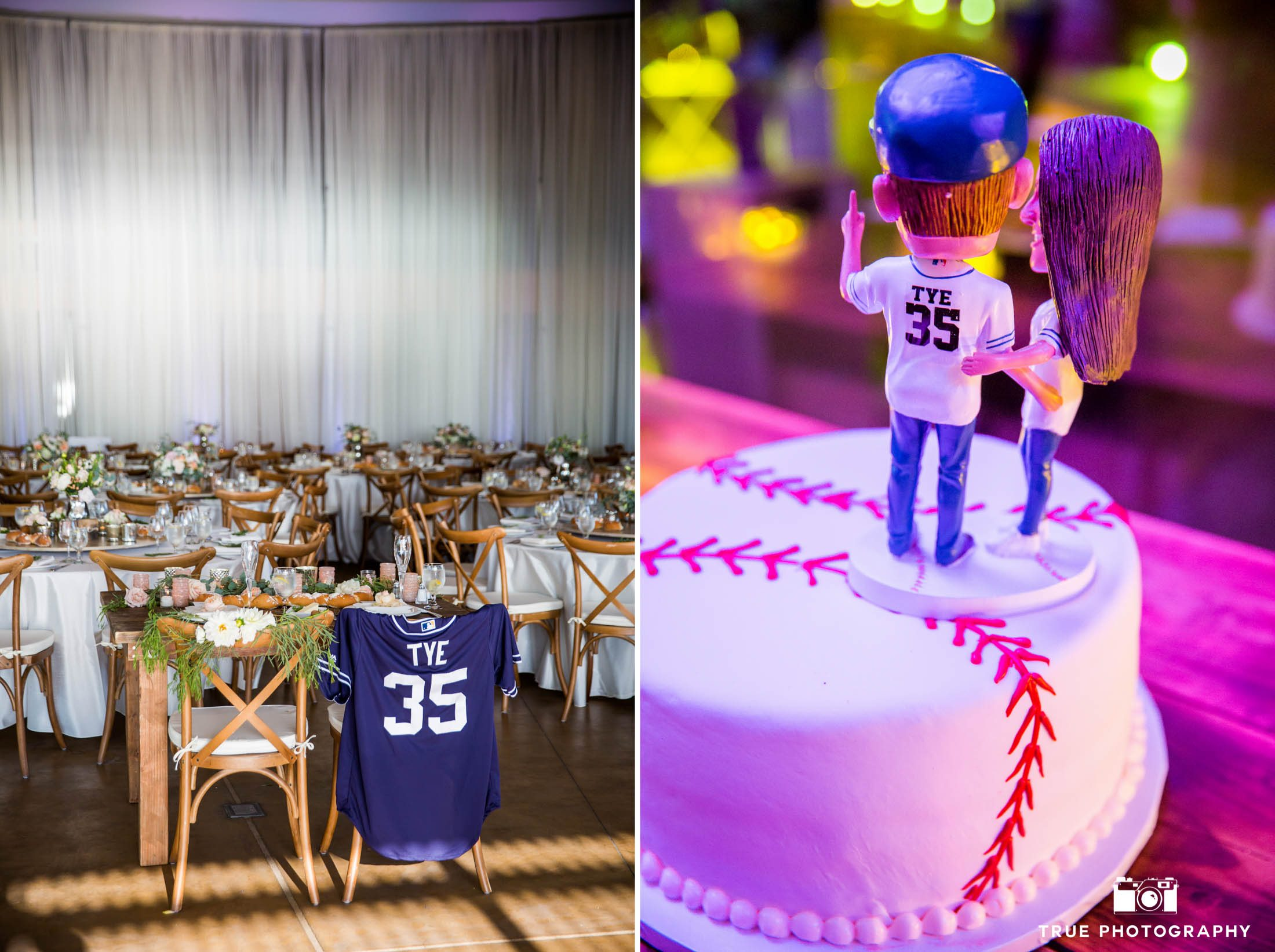 Baseball details at beach wedding
