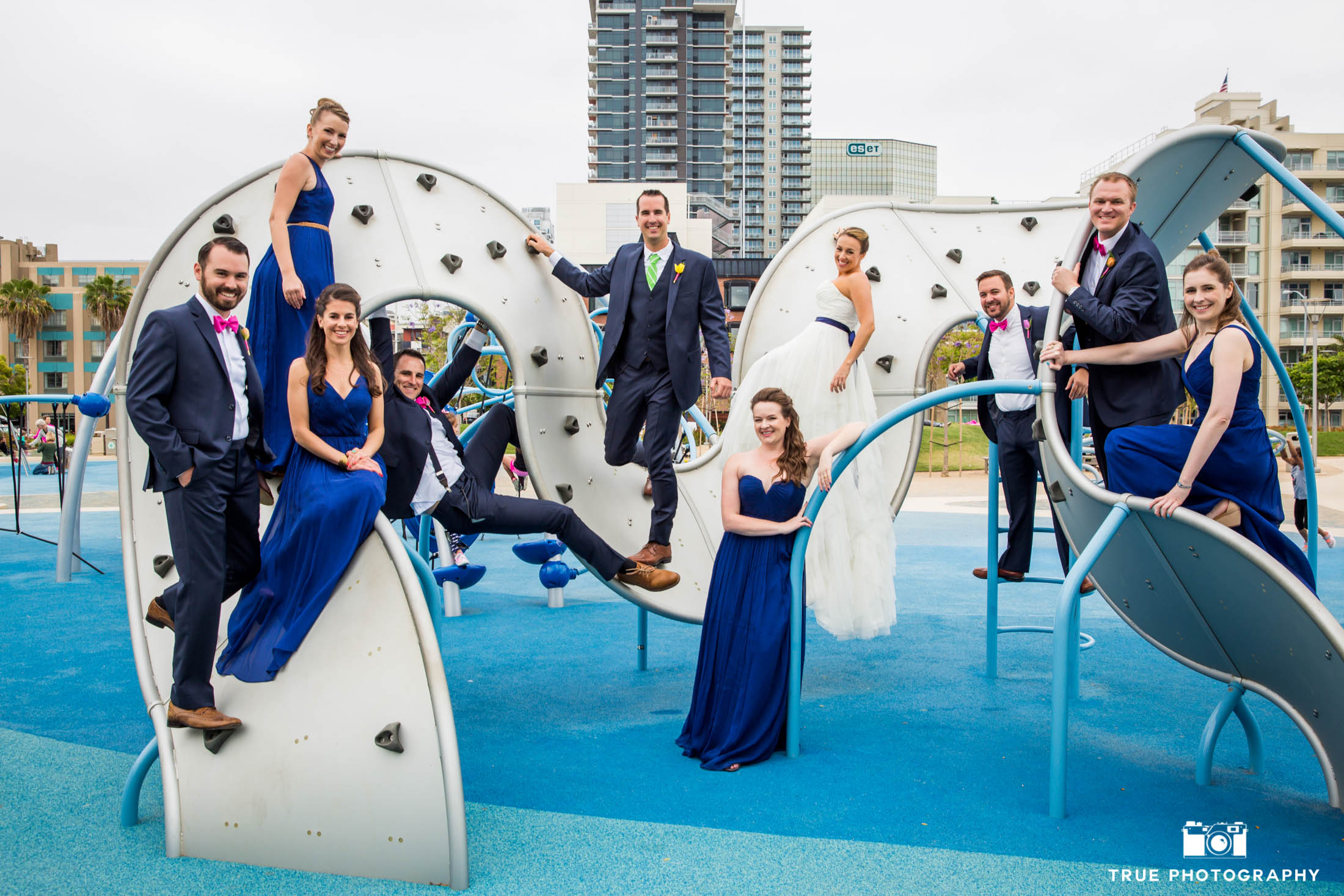 Outrageous wedding party having fun