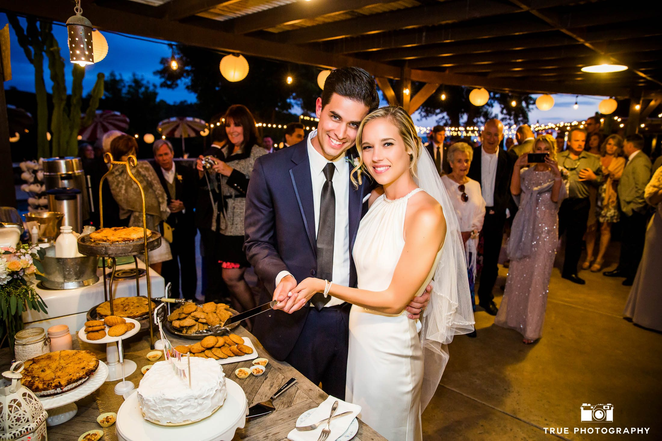 Bride and Groom hold knife and begin to cut cake as guests watch during outdoor wedding reception