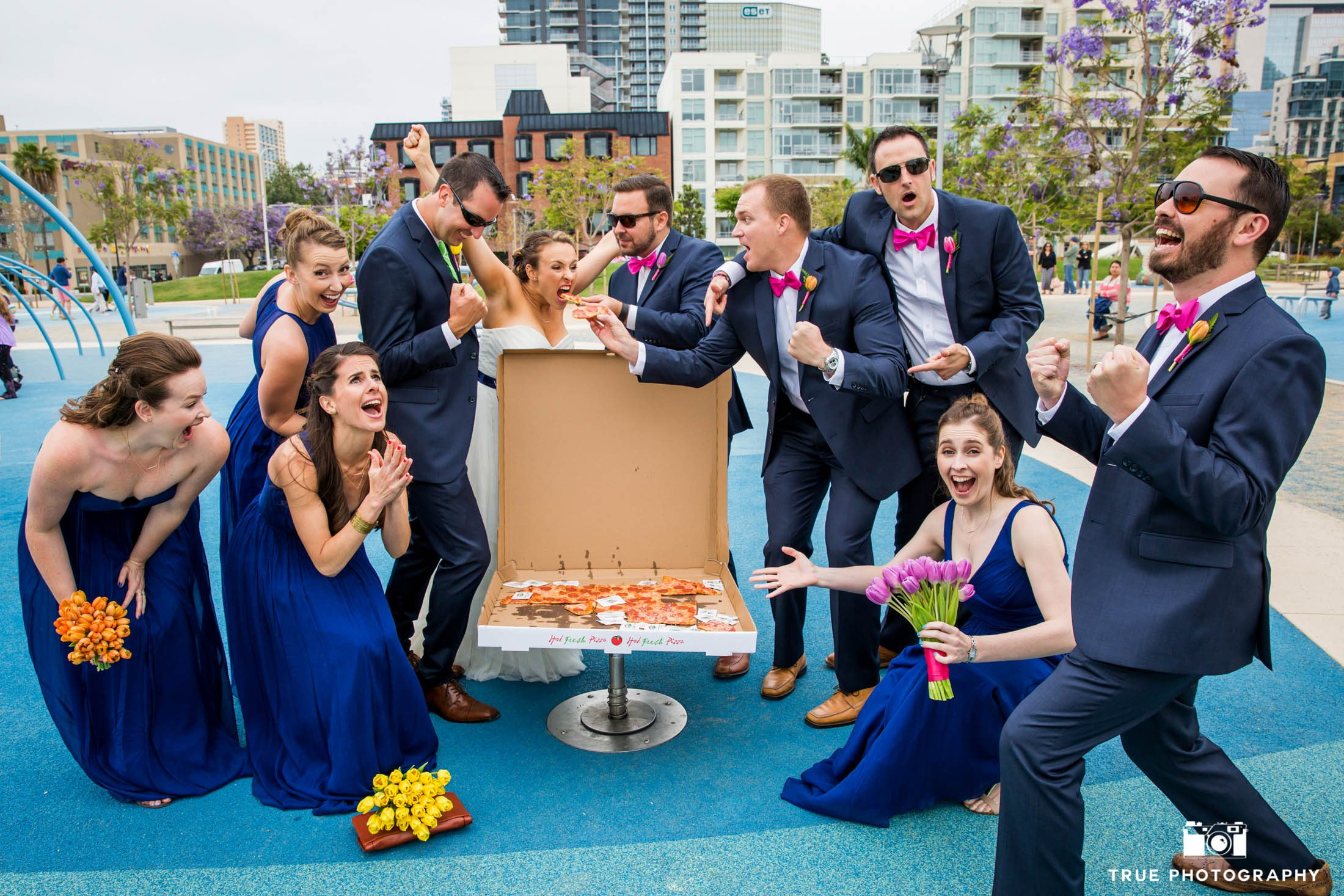 Silly wedding rarty scored a pizza