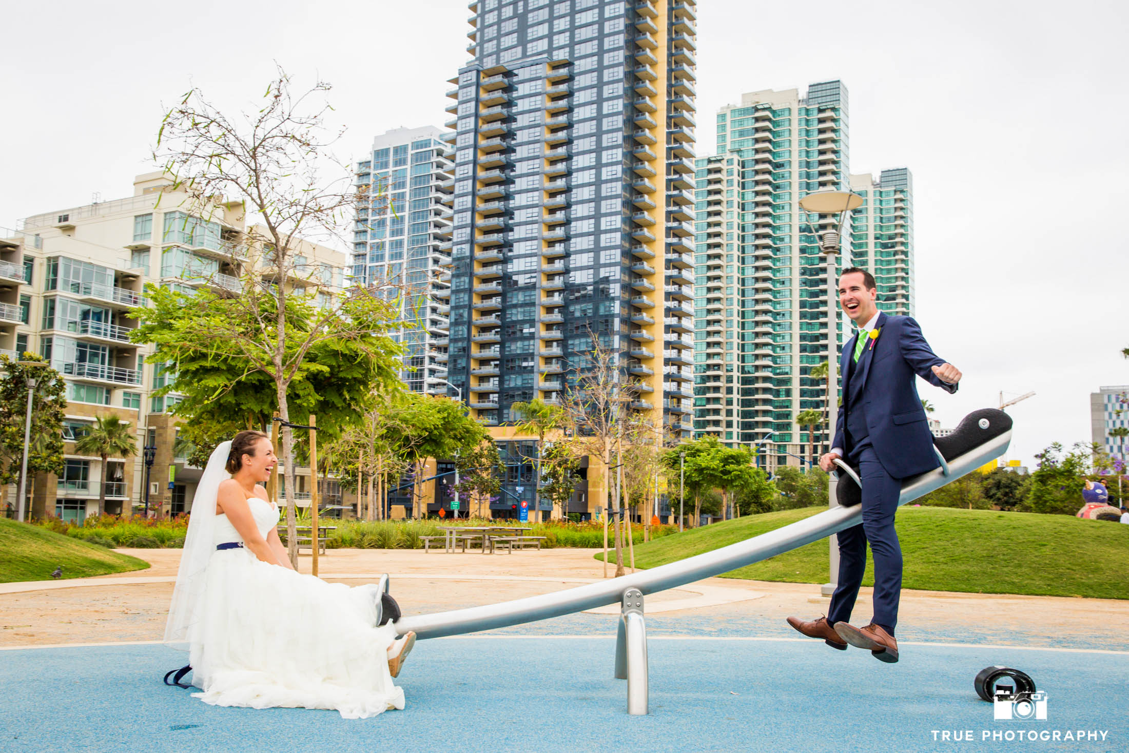 Bride and Groom on a seesaw
