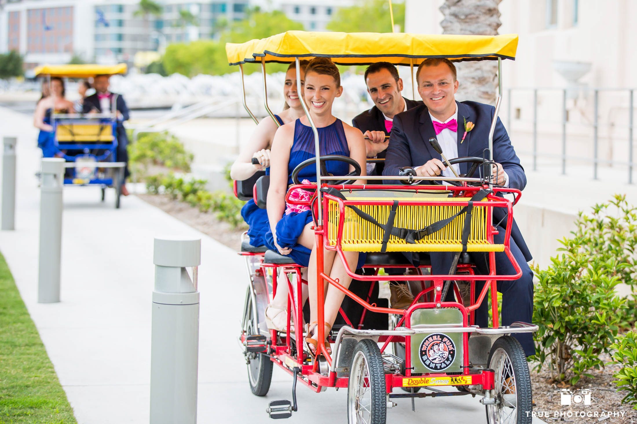 Bridal Party Riding in on surrey bikes