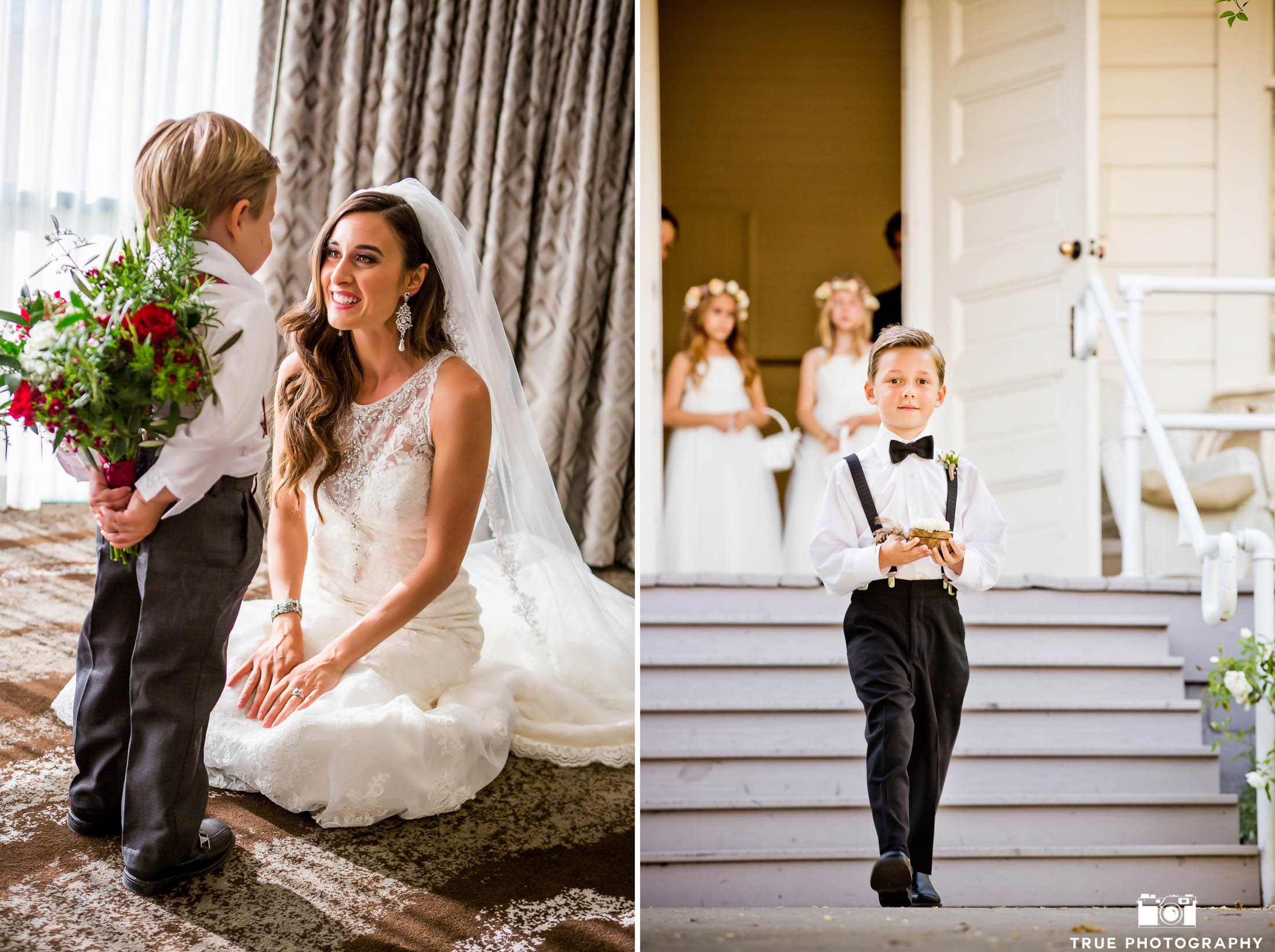 bride kneeling with ring bearer