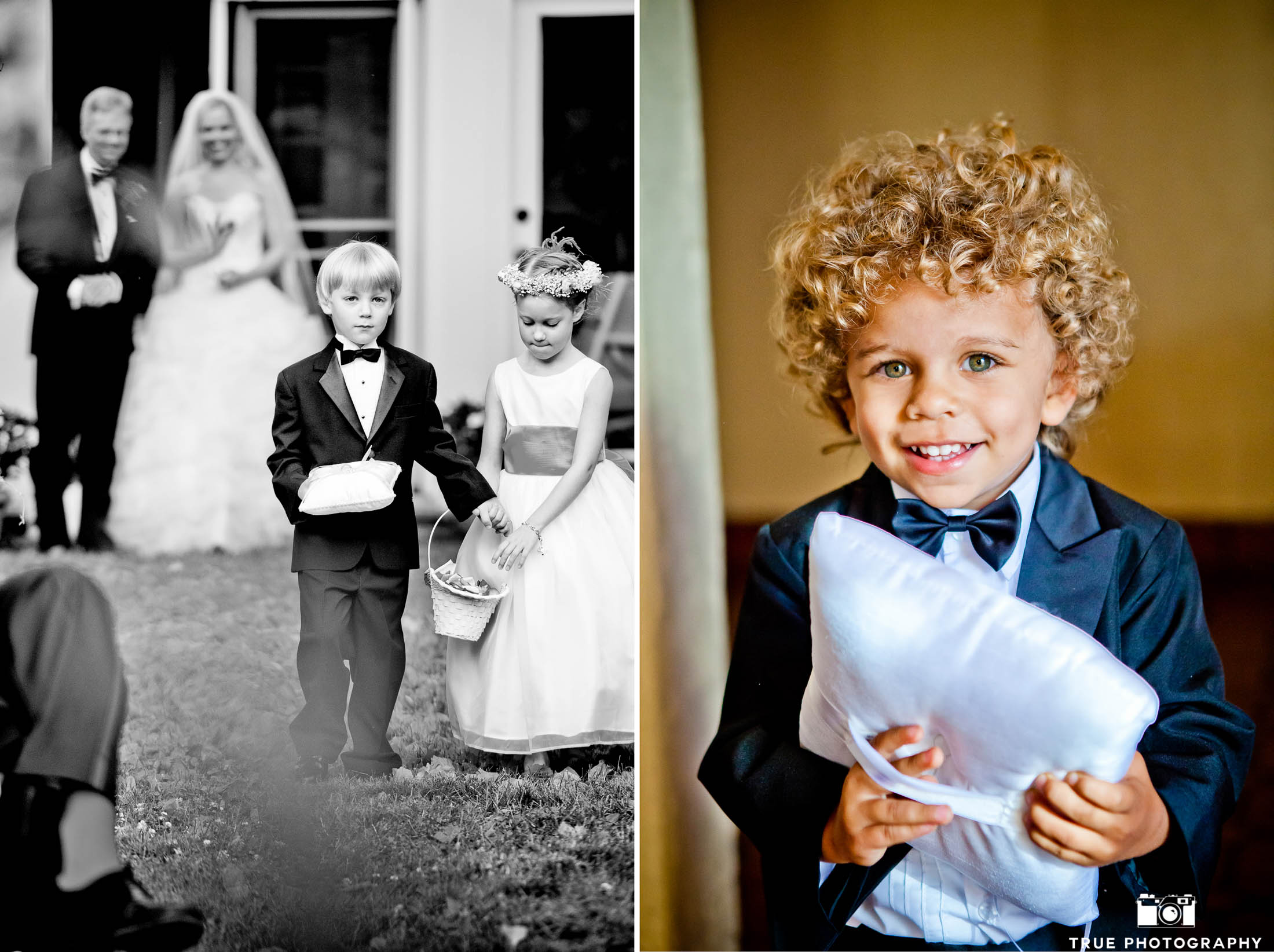 composite photo of ring bearers with pillows