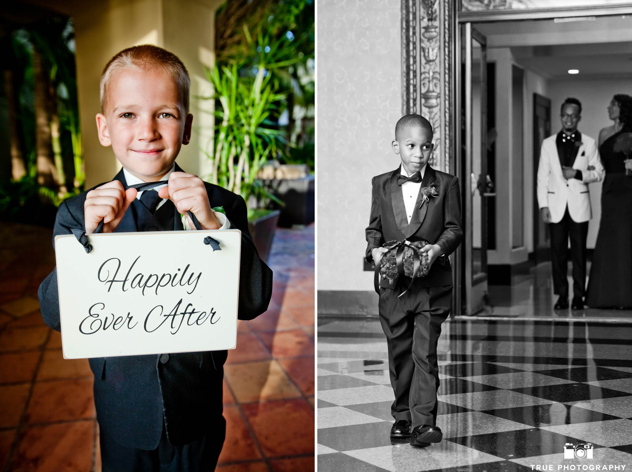 smiling ring bearers making an entrance