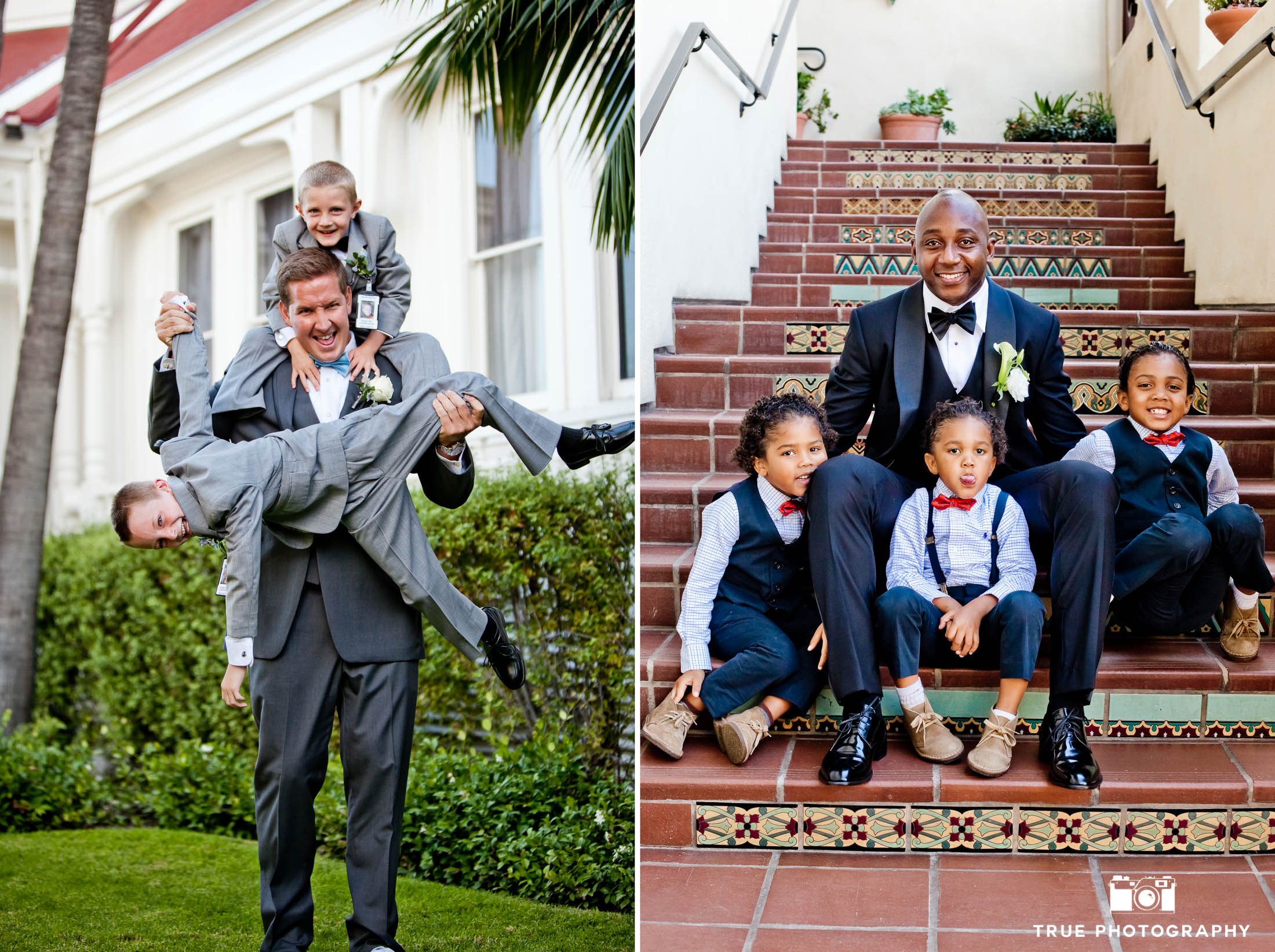 Grooms pose in silly way with young boys at wedding