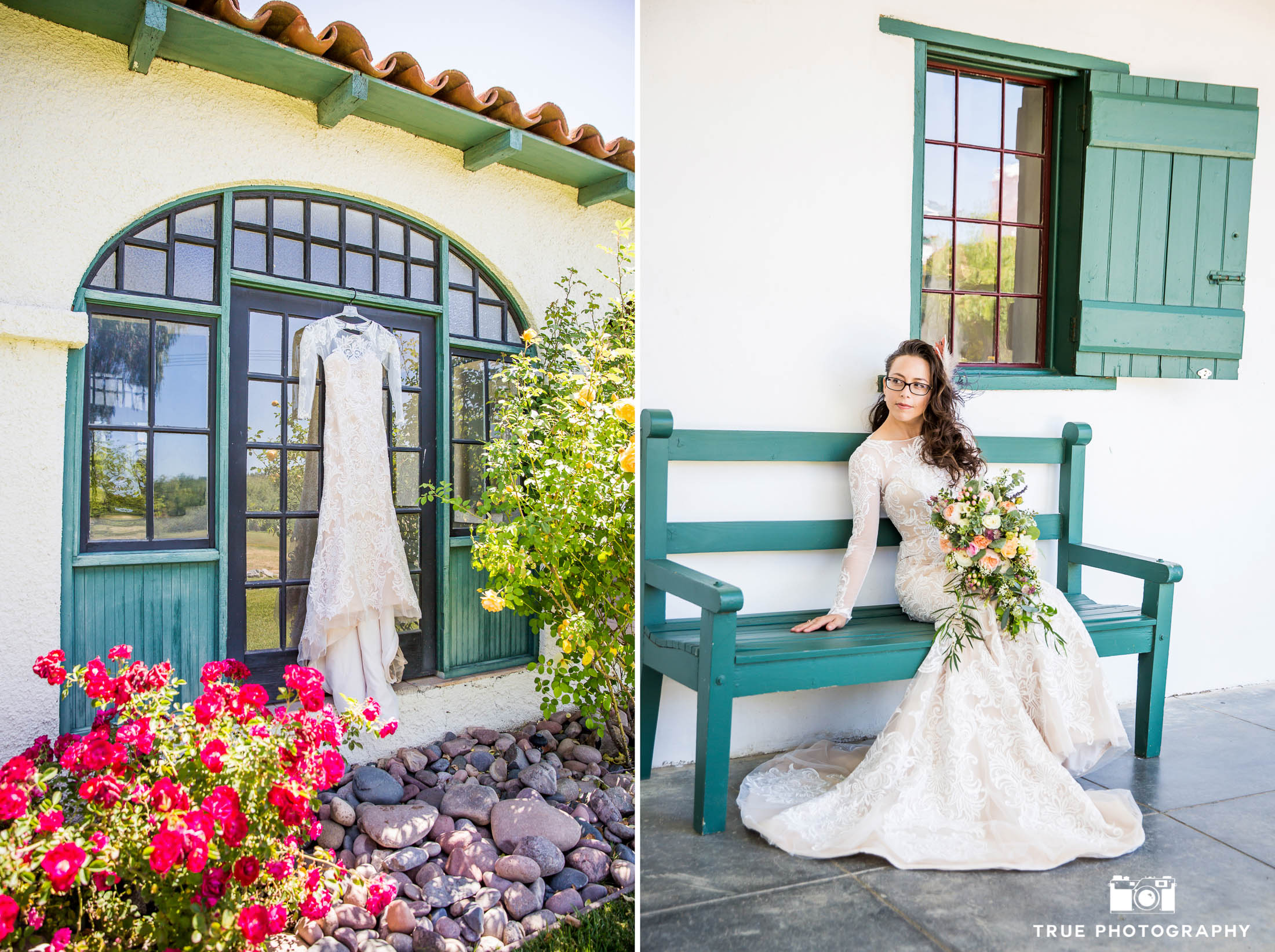 Spanish bride portrait with hanging sleeved wedding dress and rustic bouquet