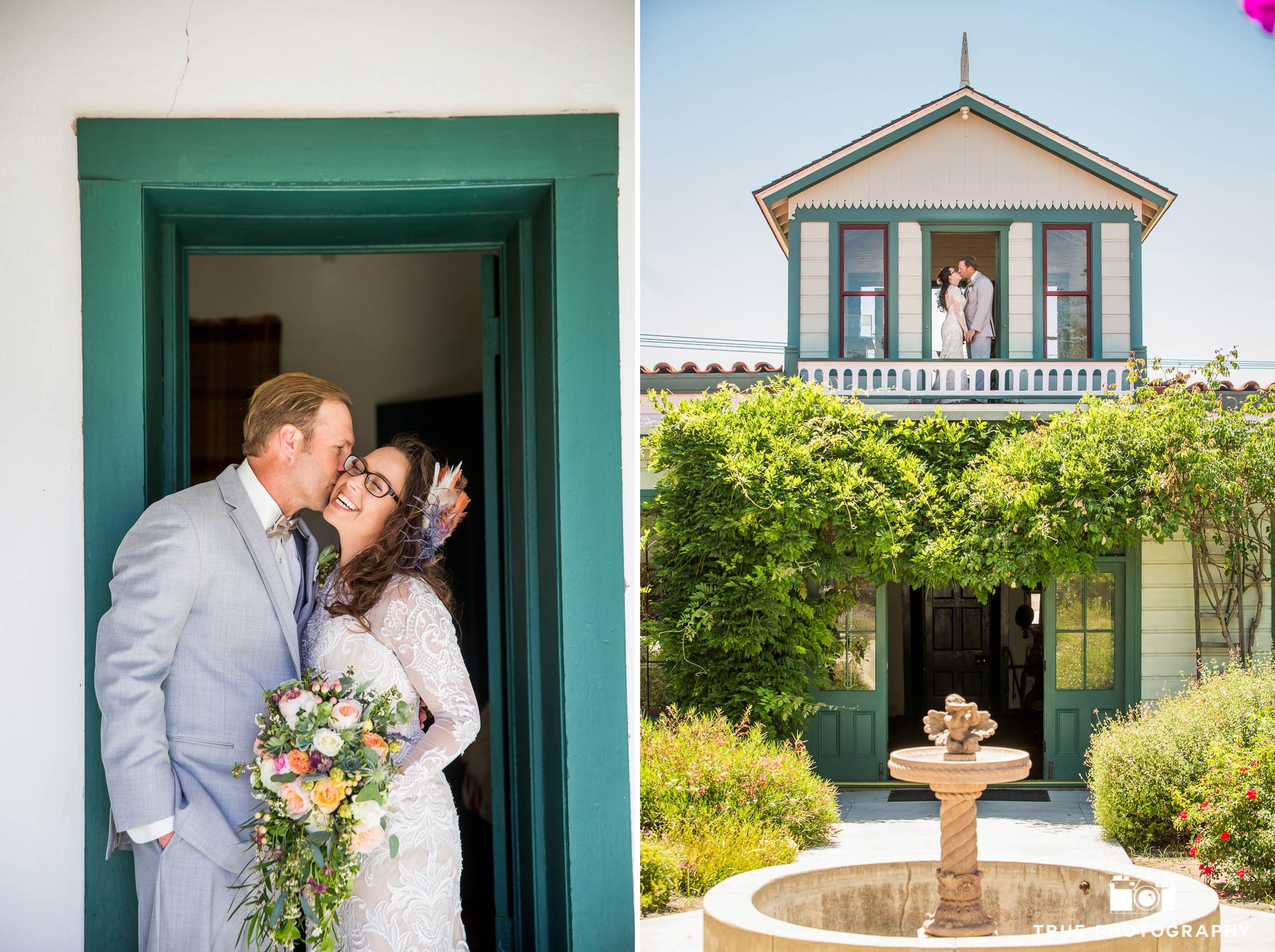 Bride and Groom wedding portraits in garden courtyard of historical spanish-style house