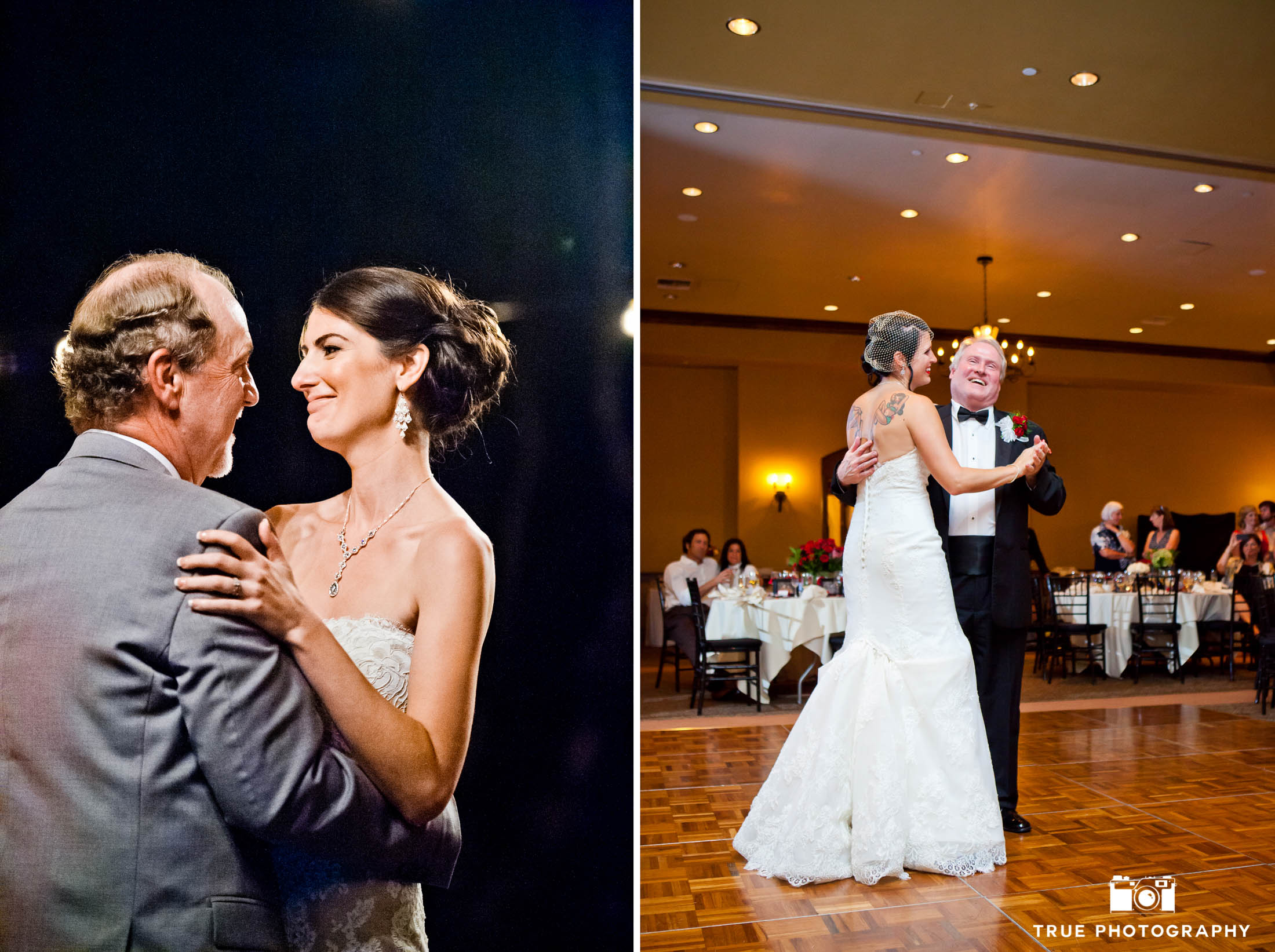 Emotional reactions from Bride and Father during Parent dances at wedding reception