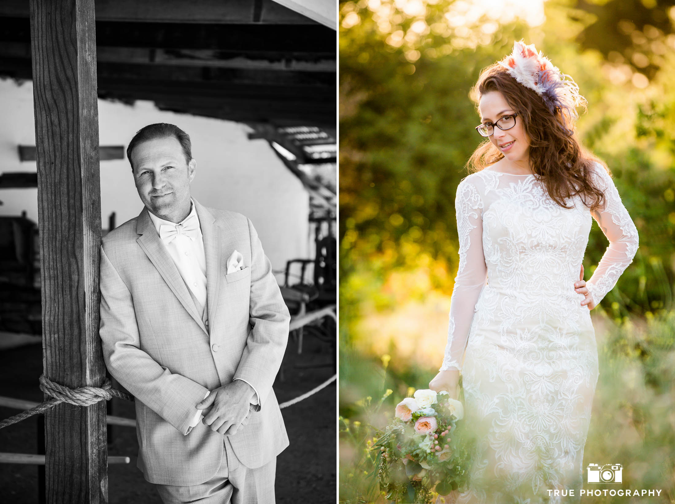 Solo photos of Bride and Groom during rustic wedding at spanish-style ranch