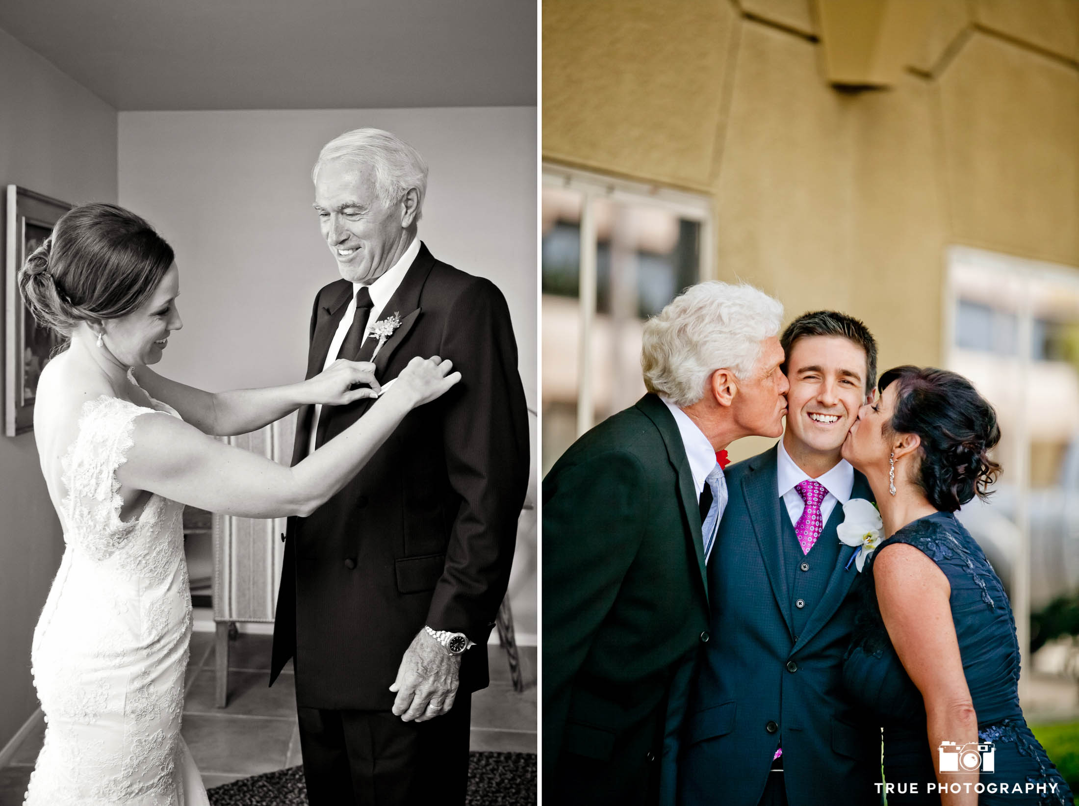 Parents kiss Groom on cheeks while Bride helps Dad during pre-ceremony