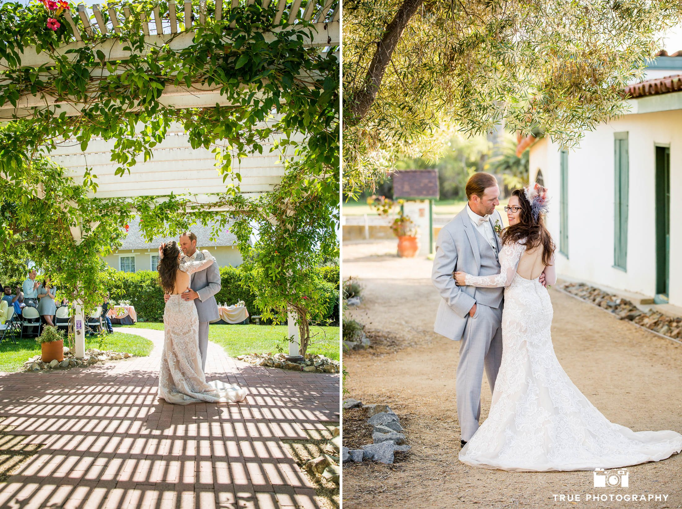 Bride and Groom's First Dance in Victorian Garden at Spanish-style venue during outdoor rustic wedding reception