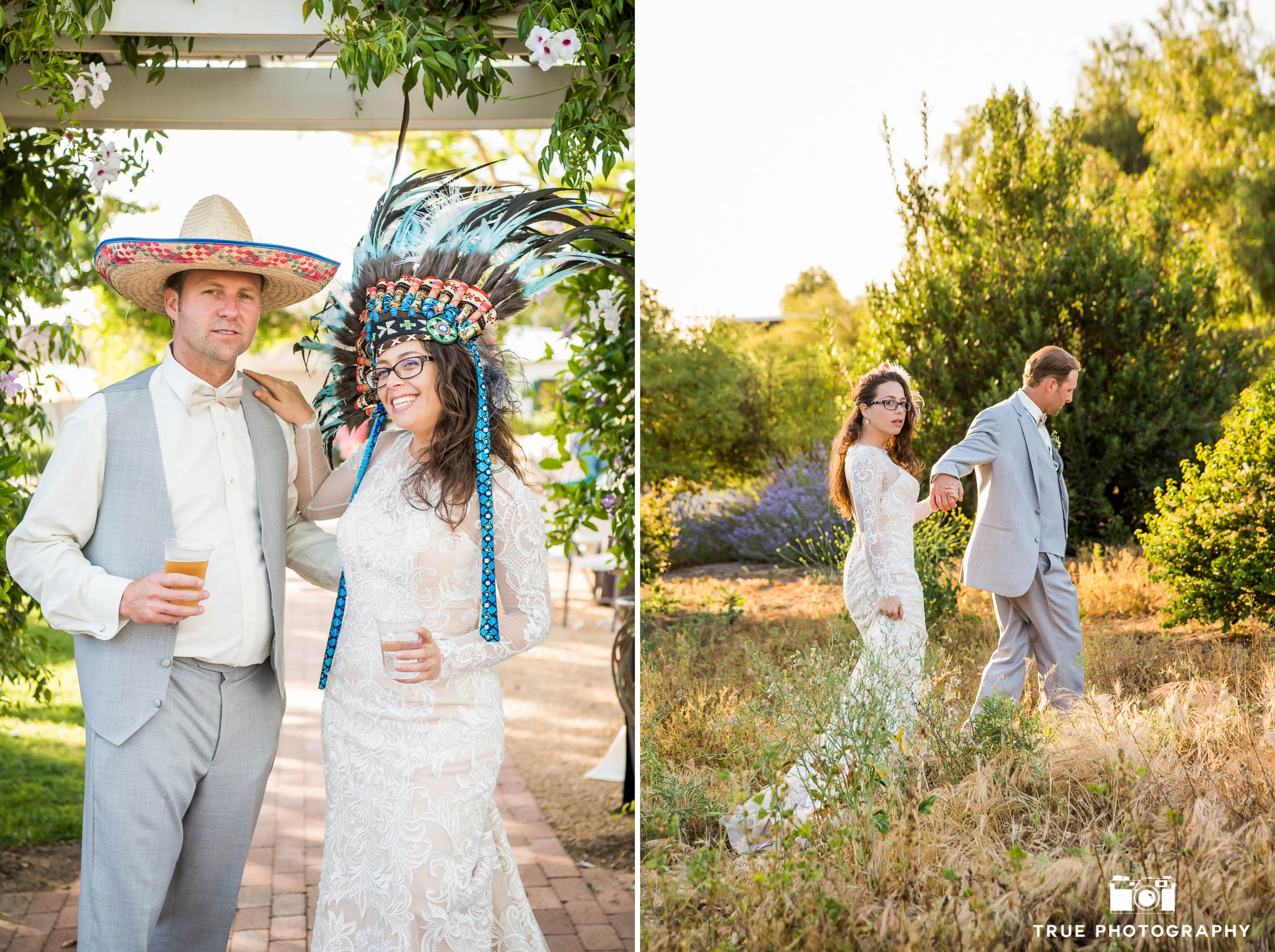 Wedding Couple with fun photobooth props and walking through grassy field during sunset at wedding reception at spanish-style ranch