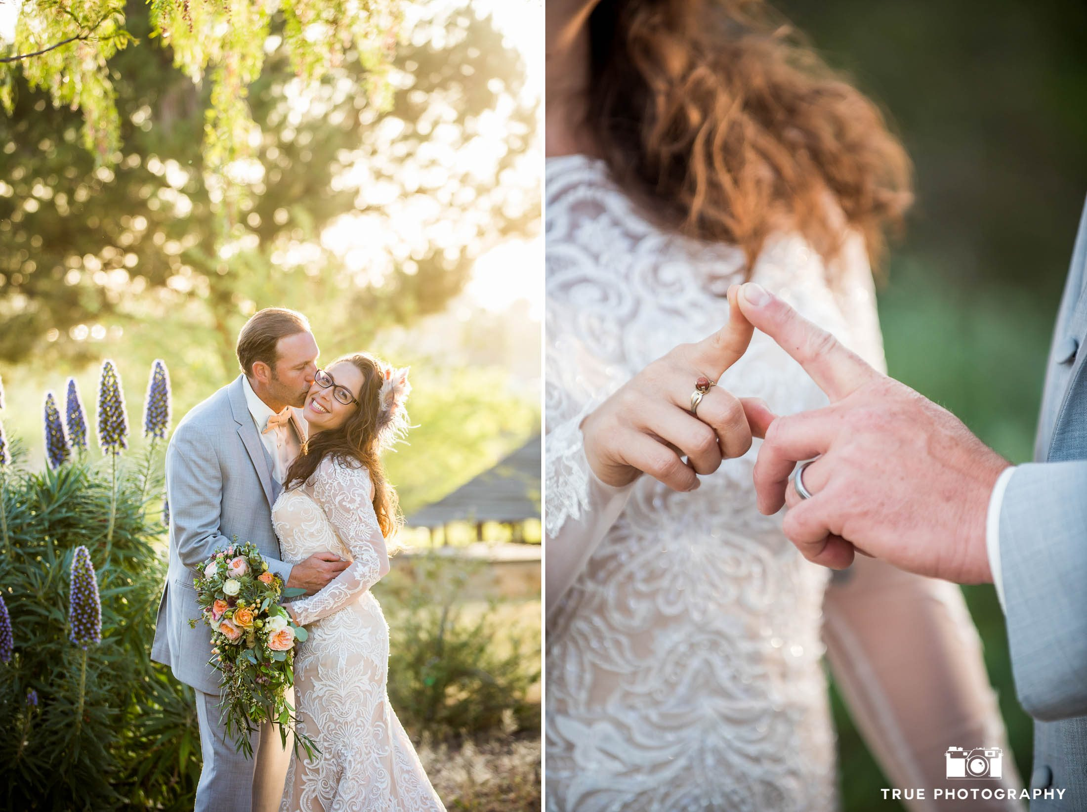 Bride and Groom portraits with golden natural light at spanish-style ranch
