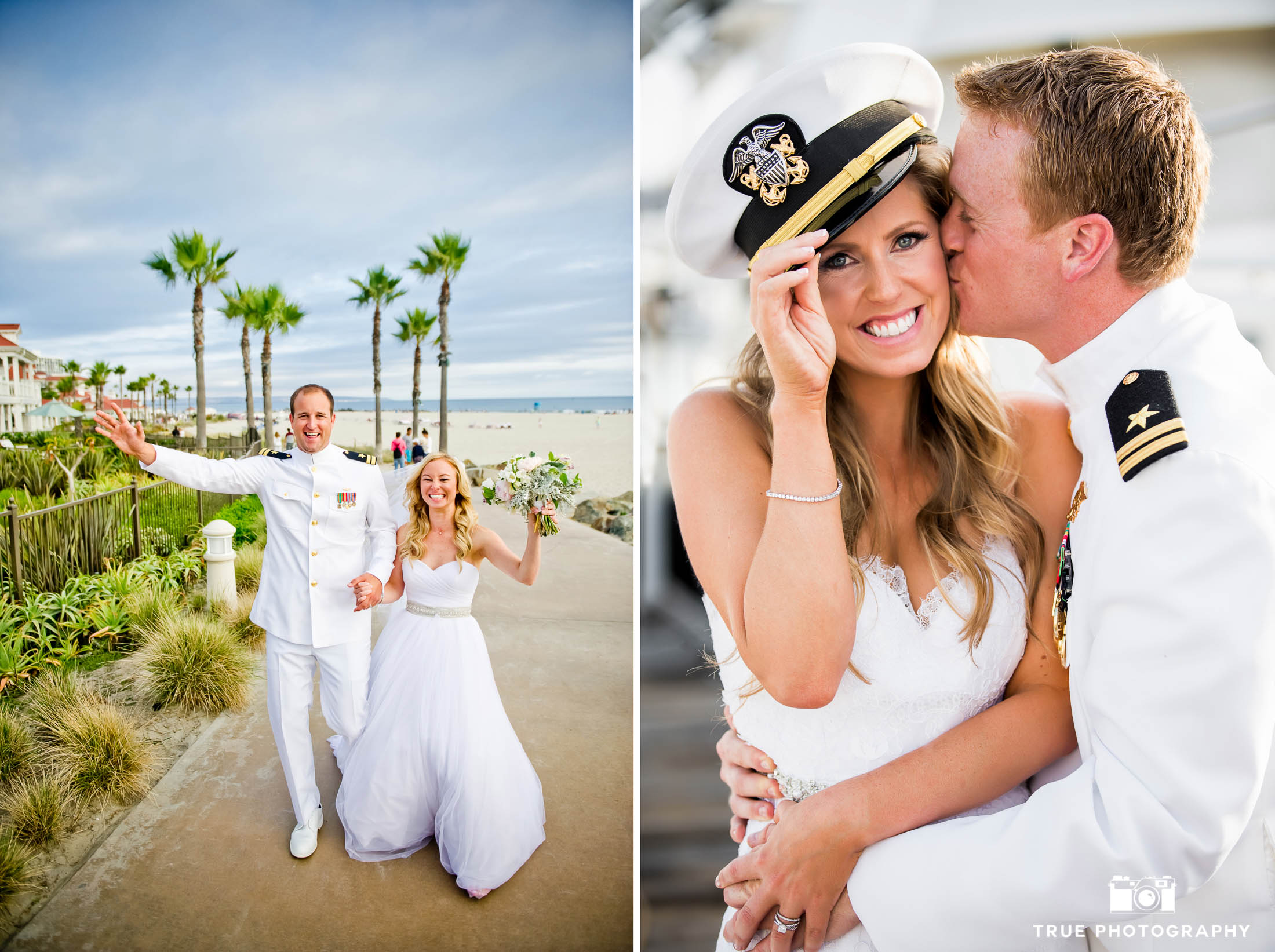 Military Couples celebrate after tying the knot