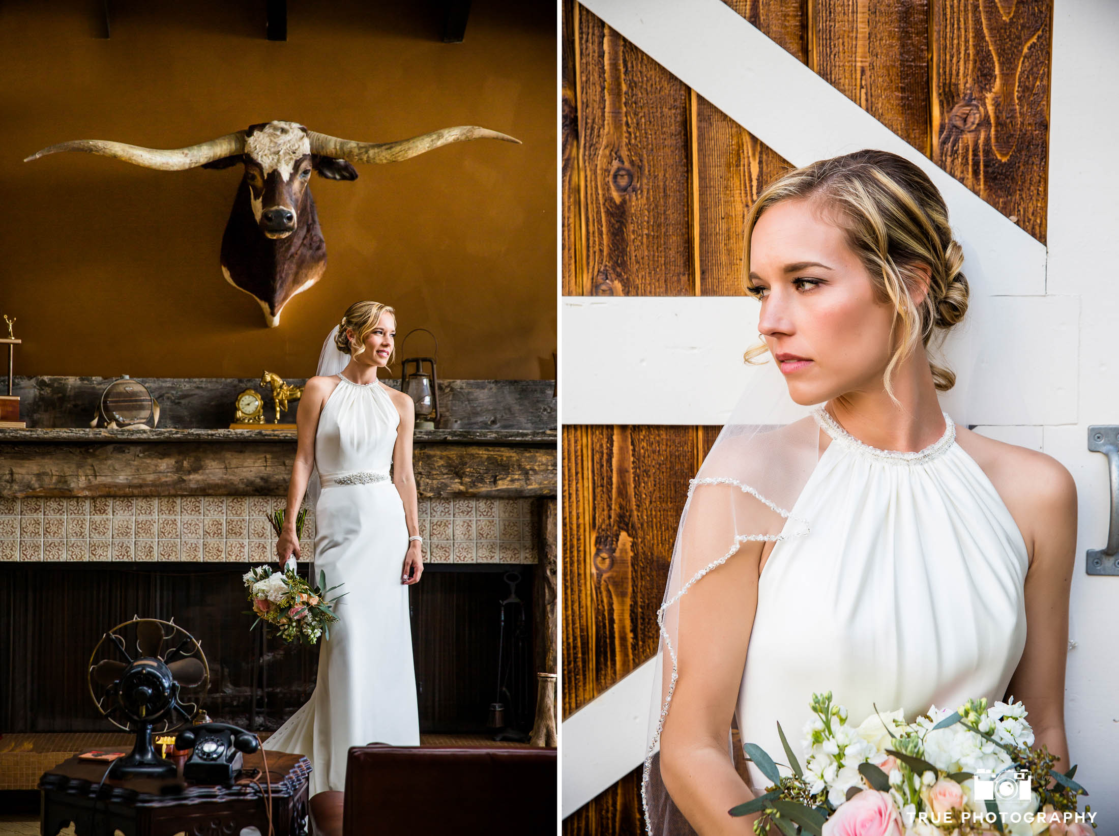 Modern bohemian bride in wedding dress by Casablanca Bridal while holding rustic bouquet