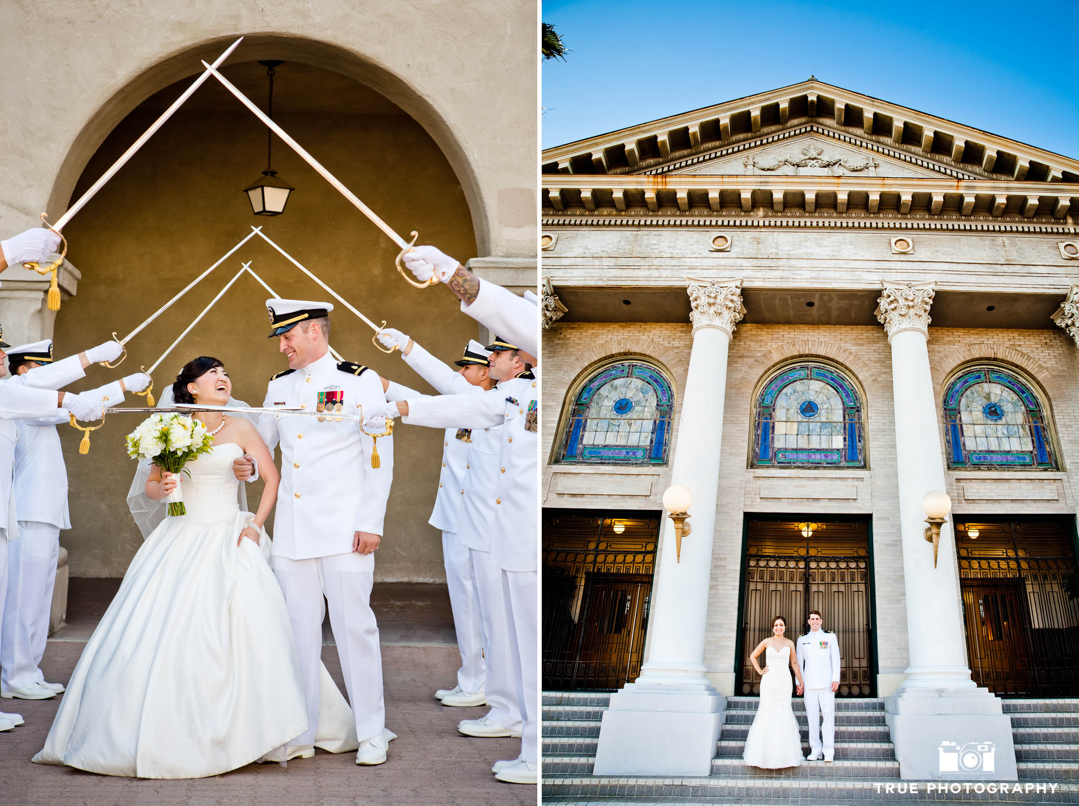 Military Wedding Couples celebrate with Arch of Swords after ceremony