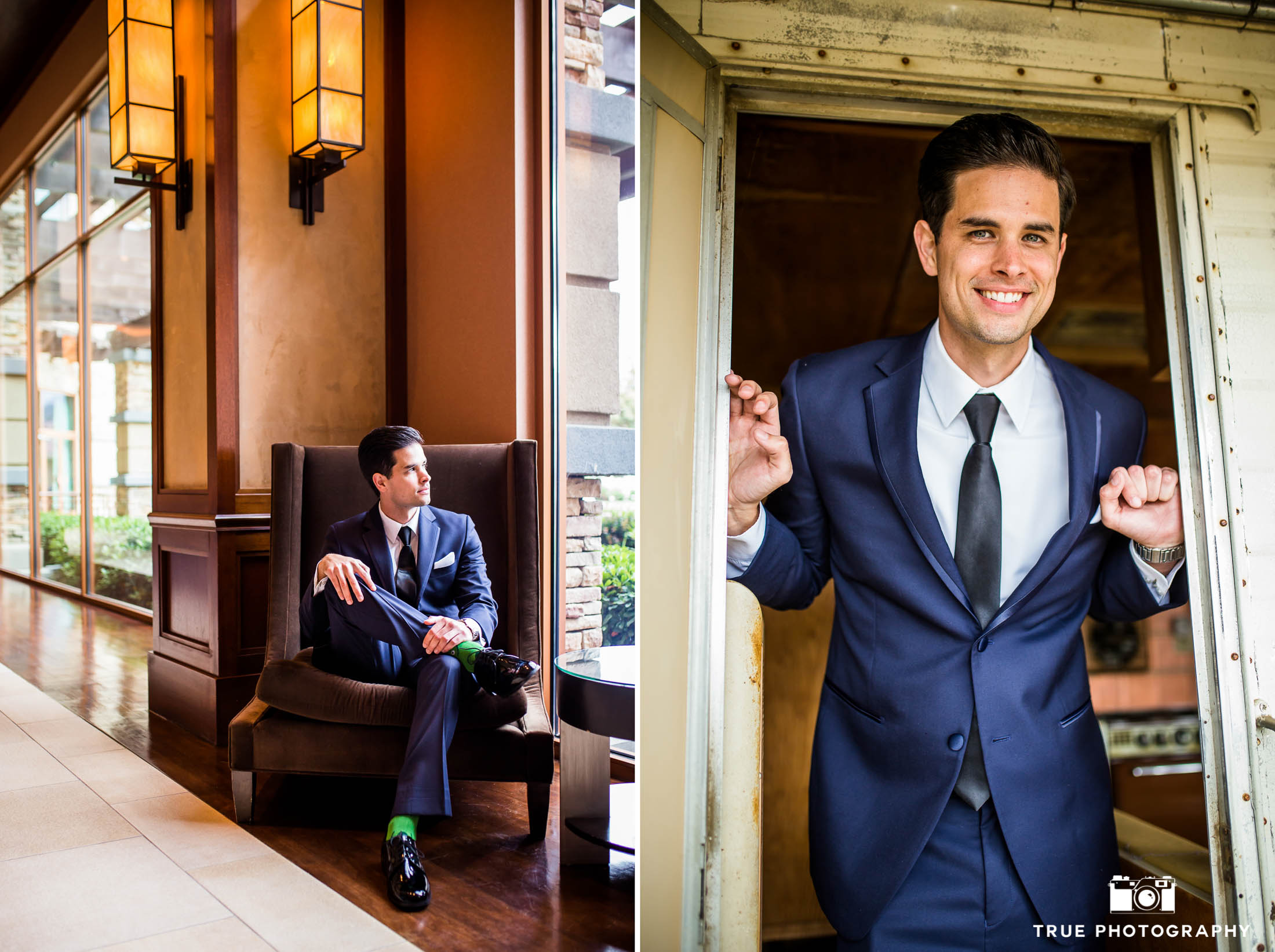 Modern Hipster Groom wearing tux from Men's Warehouse poses for photos