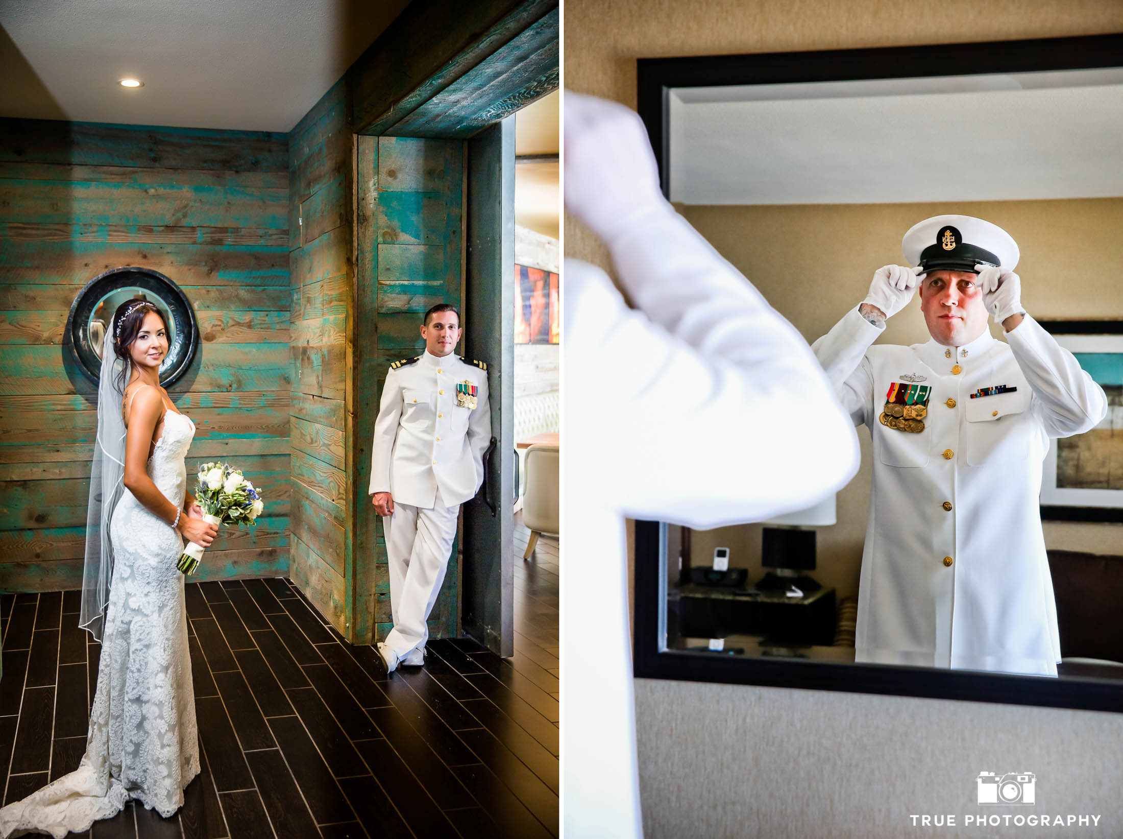 Military Wedding Couples get ready for the Wedding Day and pose for portraits in Hotel