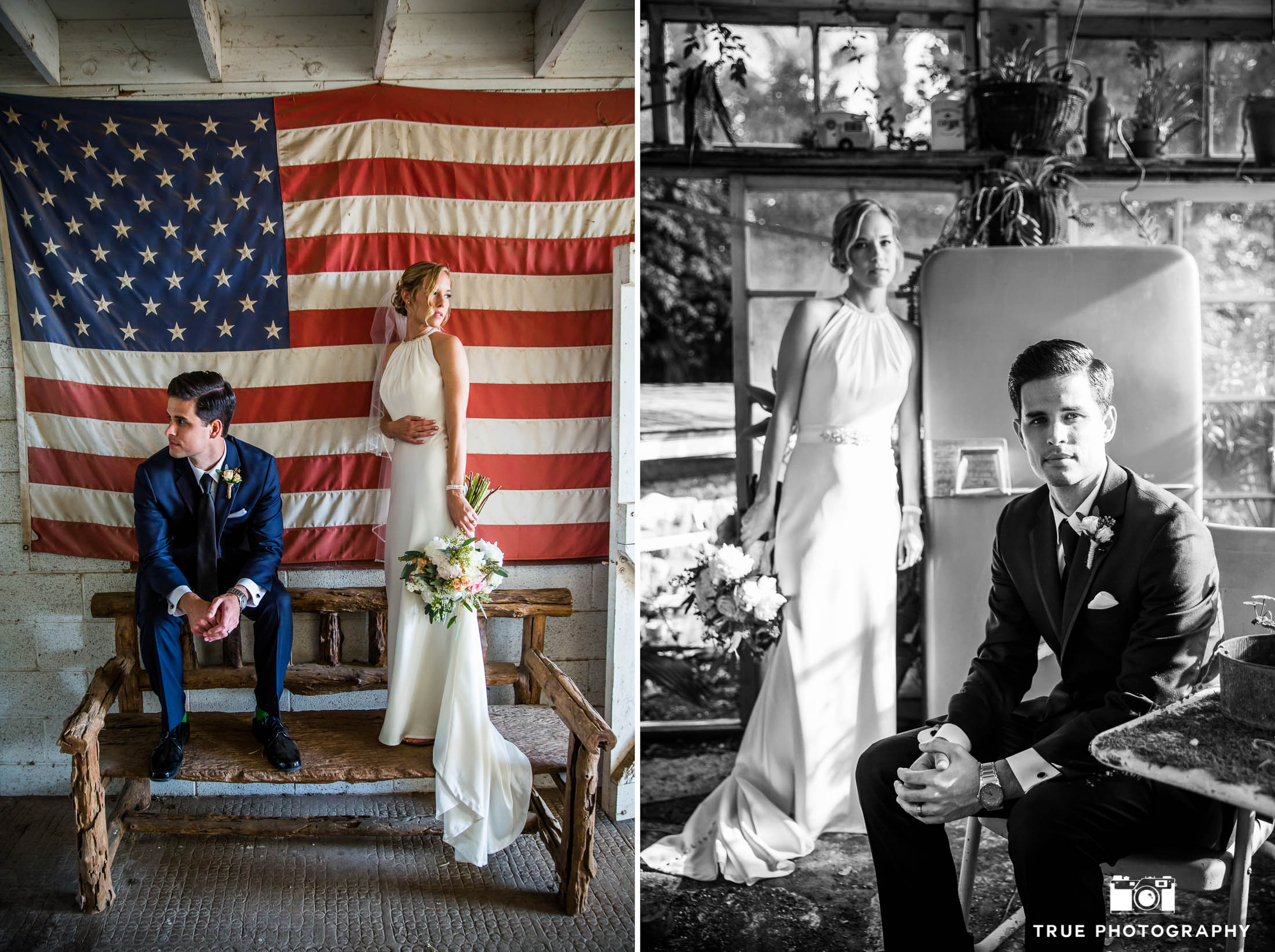 Modern Bohemian Bride and Groom pose for photos at rustic ranch