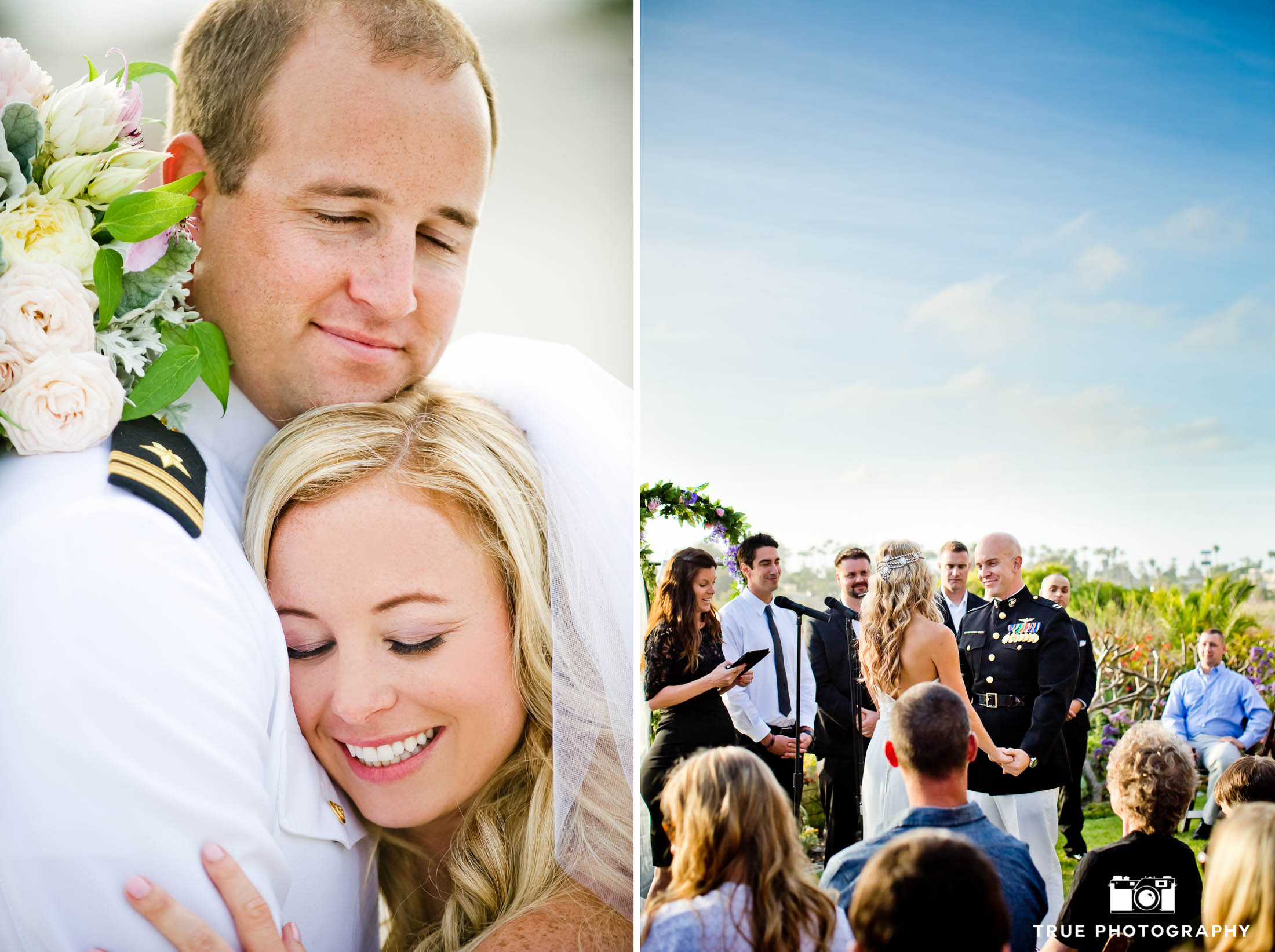 Military Wedding Couples enjoy intimate moments during wedding day ceremony in San Diego