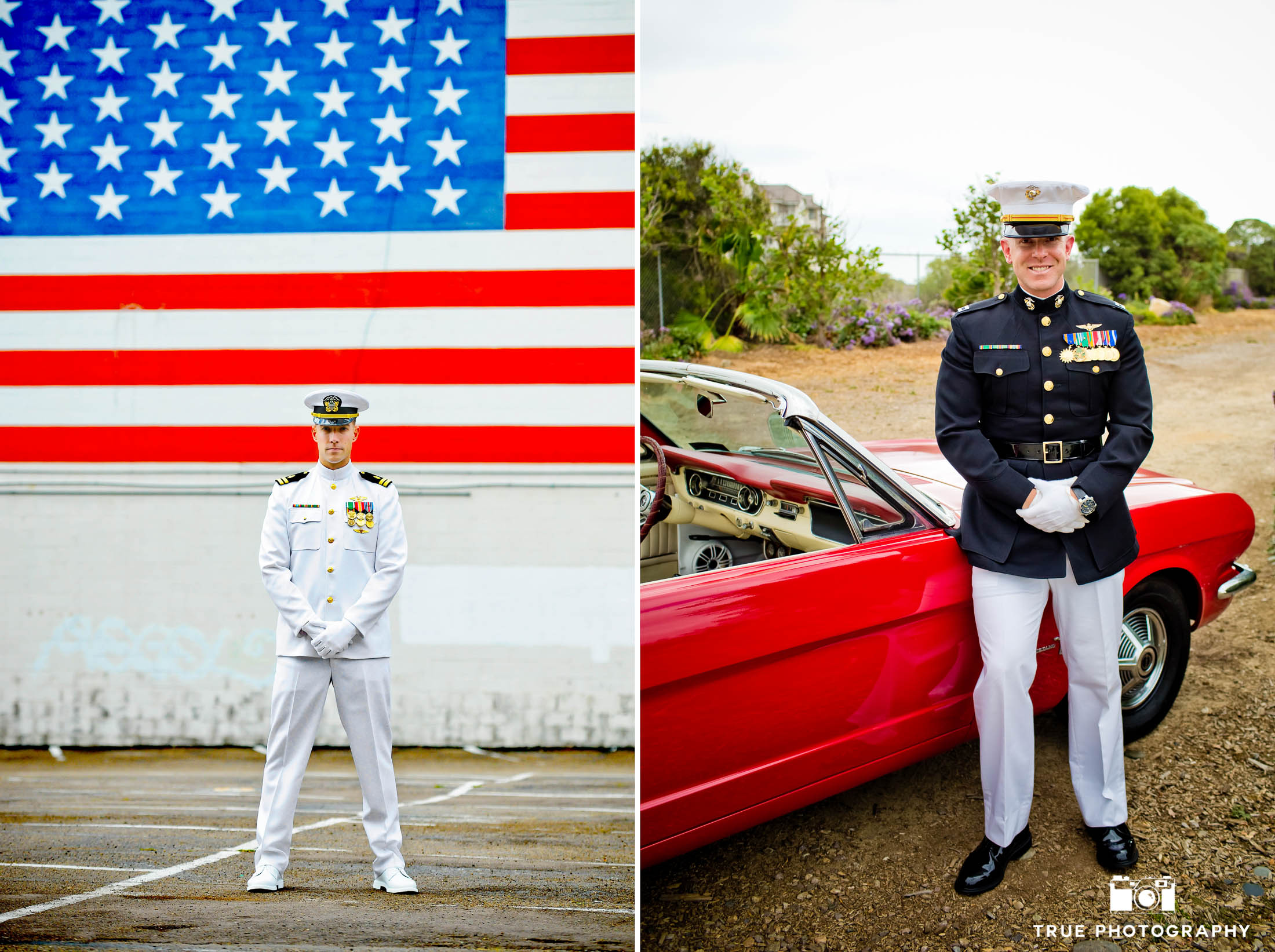 Military Groomsmen in uniform pose with classic cars and american flag