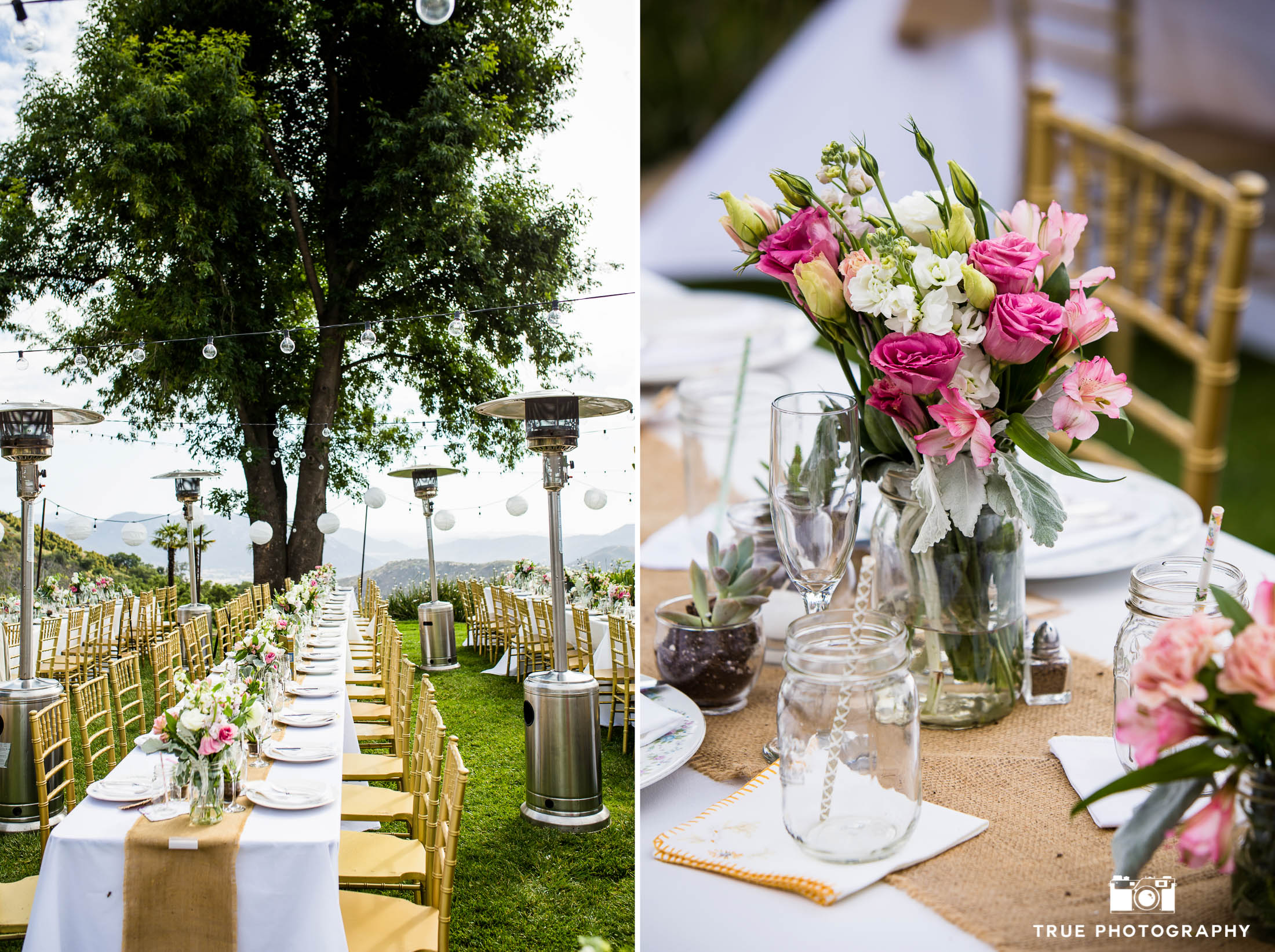 Colorful pink, green and white centerpieces during rustic outdoor wedding reception on ranch
