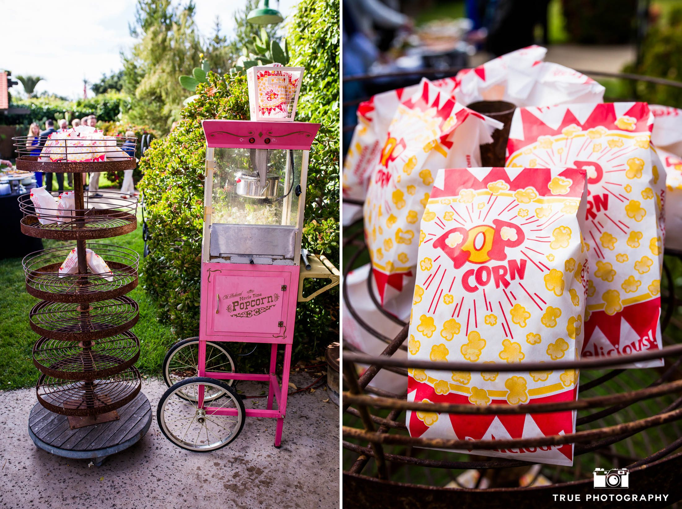 Fun and creative vintage popcorn machine during rustic outdoor wedding reception