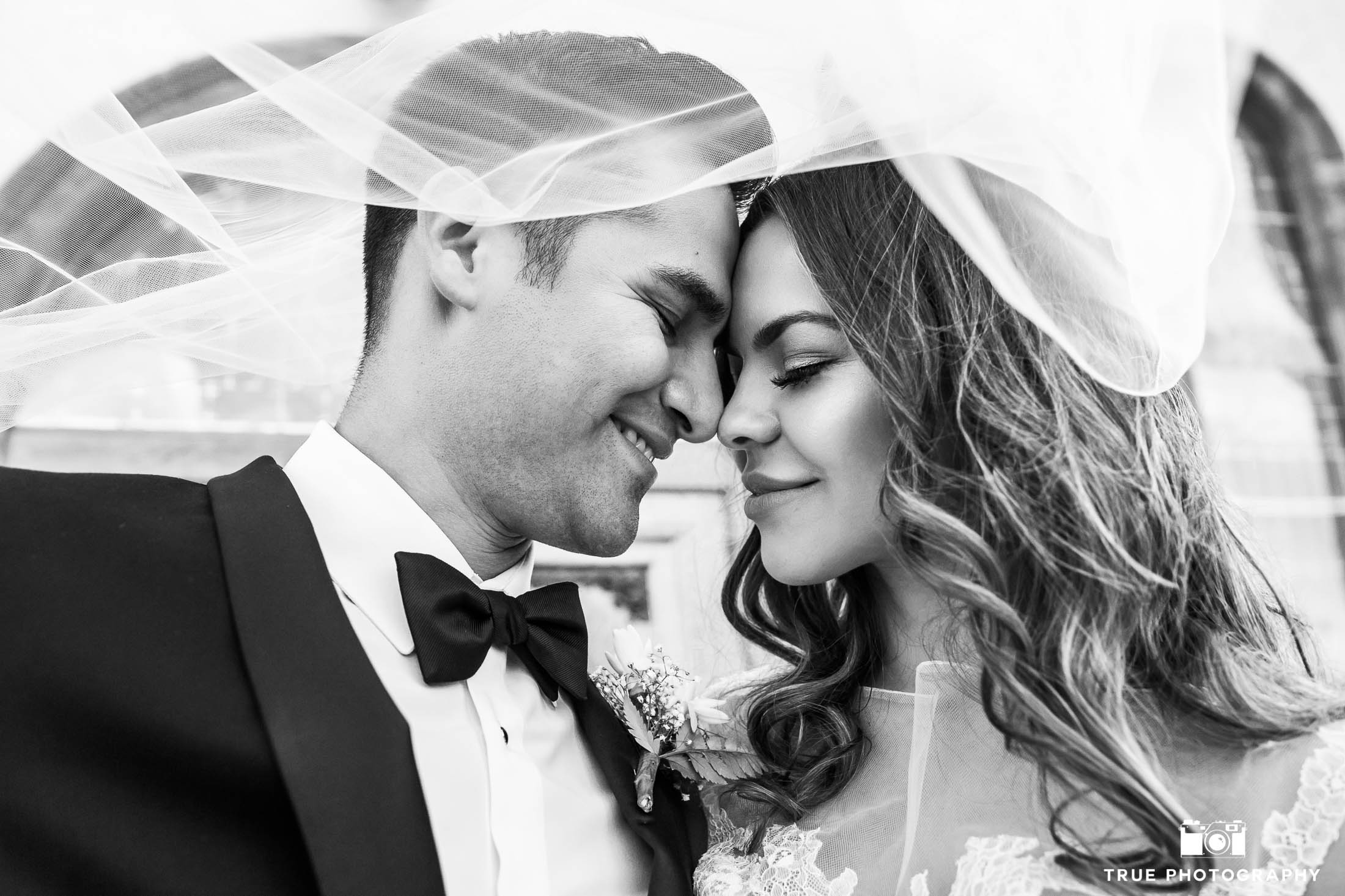 Bride and Groom embrace one another under wedding veil