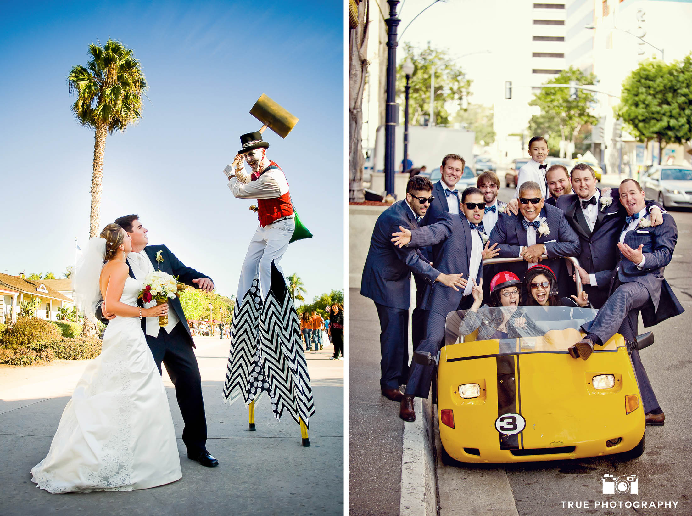 Bride and Groom pose with funny street performers