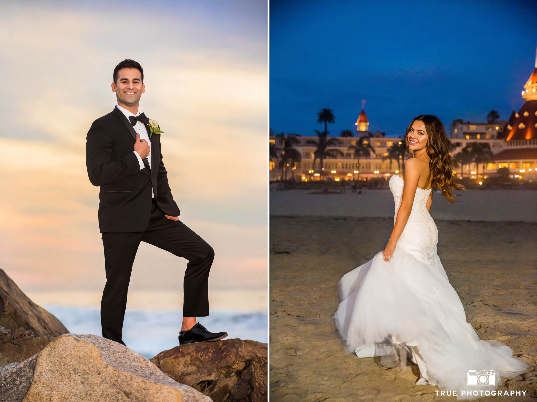 Individual portraits of bride and groom on wedding day at Hotel Del Coronado