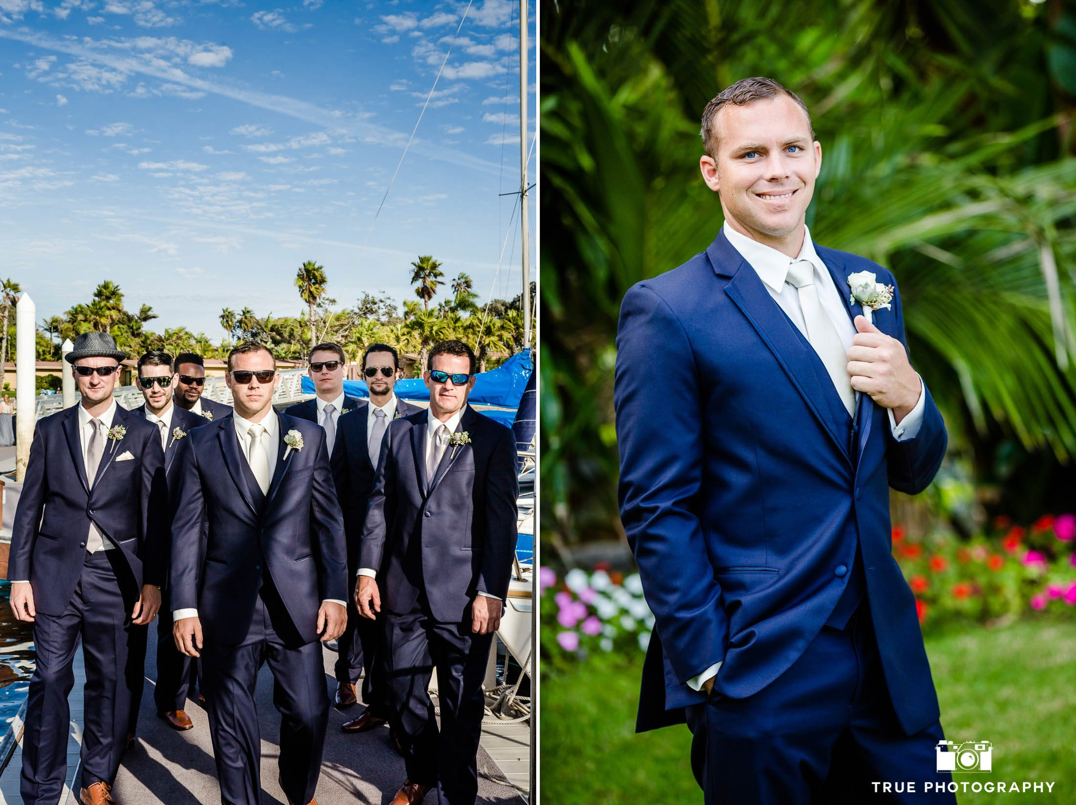 Groomsmen walking in marina at Bahia Resort wearing sunglasses