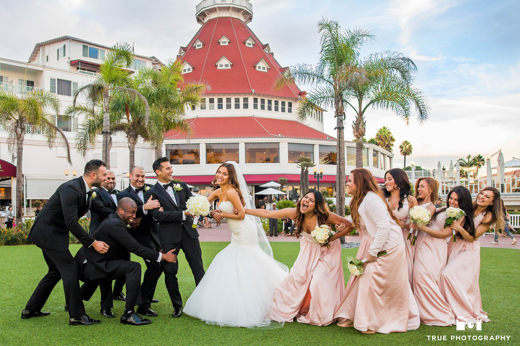 Bridal Party pulling apart wedding couple for fun portrait