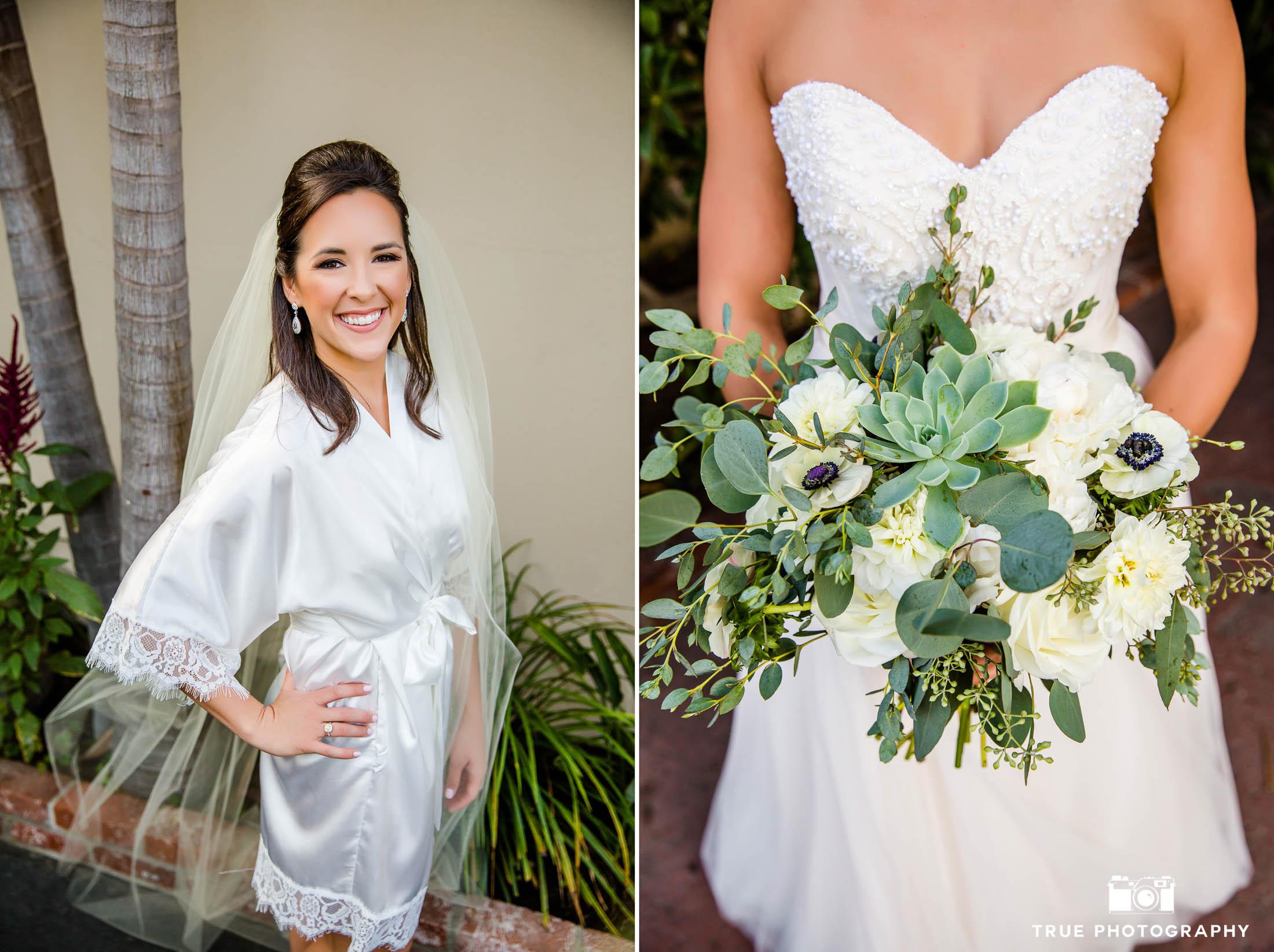 Bride smiles with bouquet
