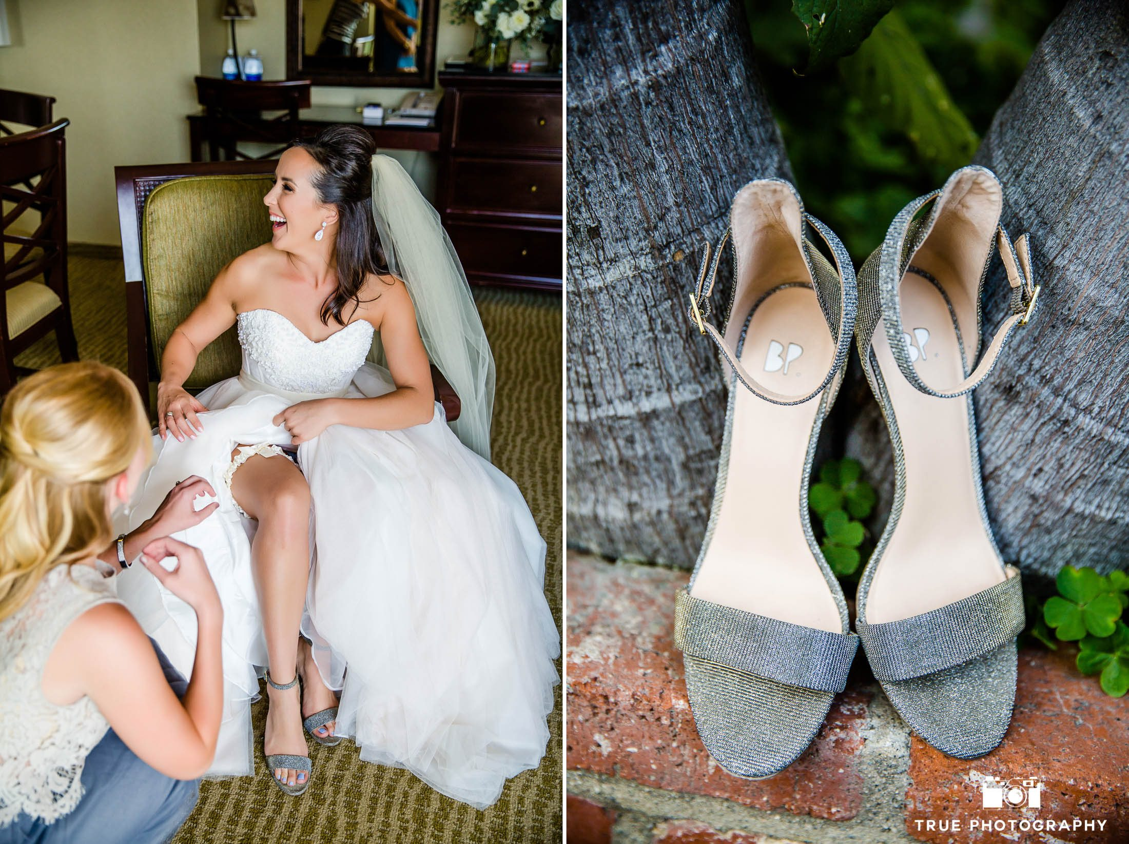Bridesmaid helps Bride put on shoes