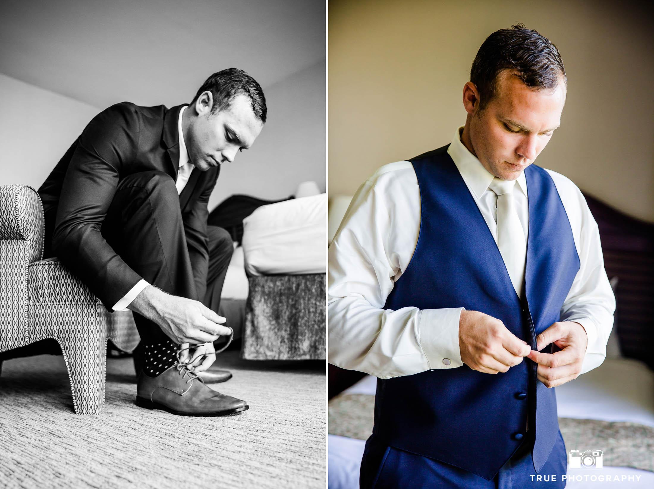 Groom prepares for wedding day