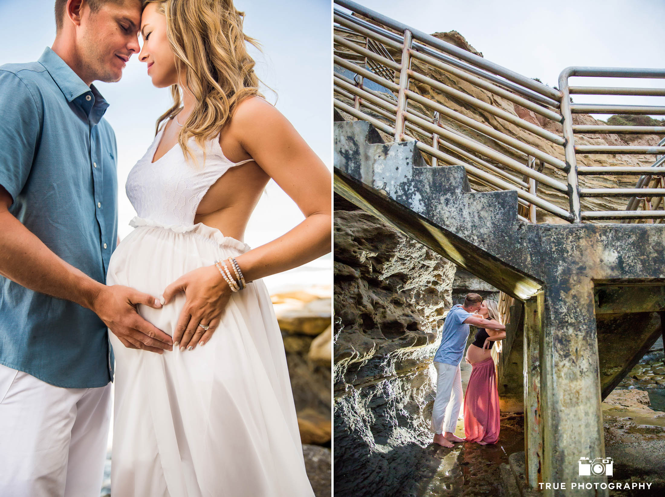 Married Couples embrace during beach maternity session