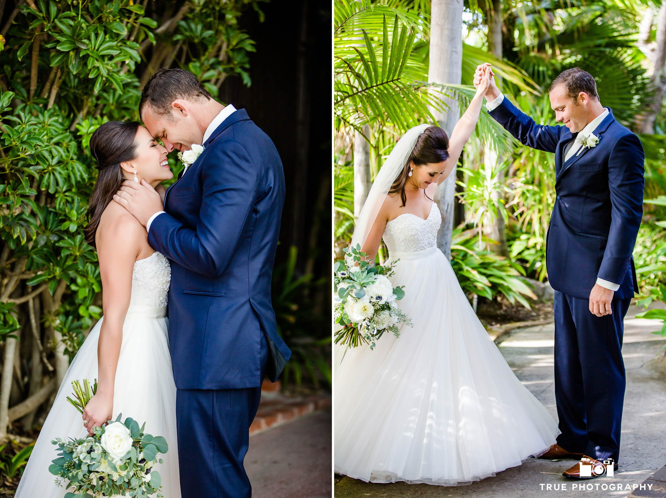 Groom reacts to seeing Bride during First Look at Bahia Resort