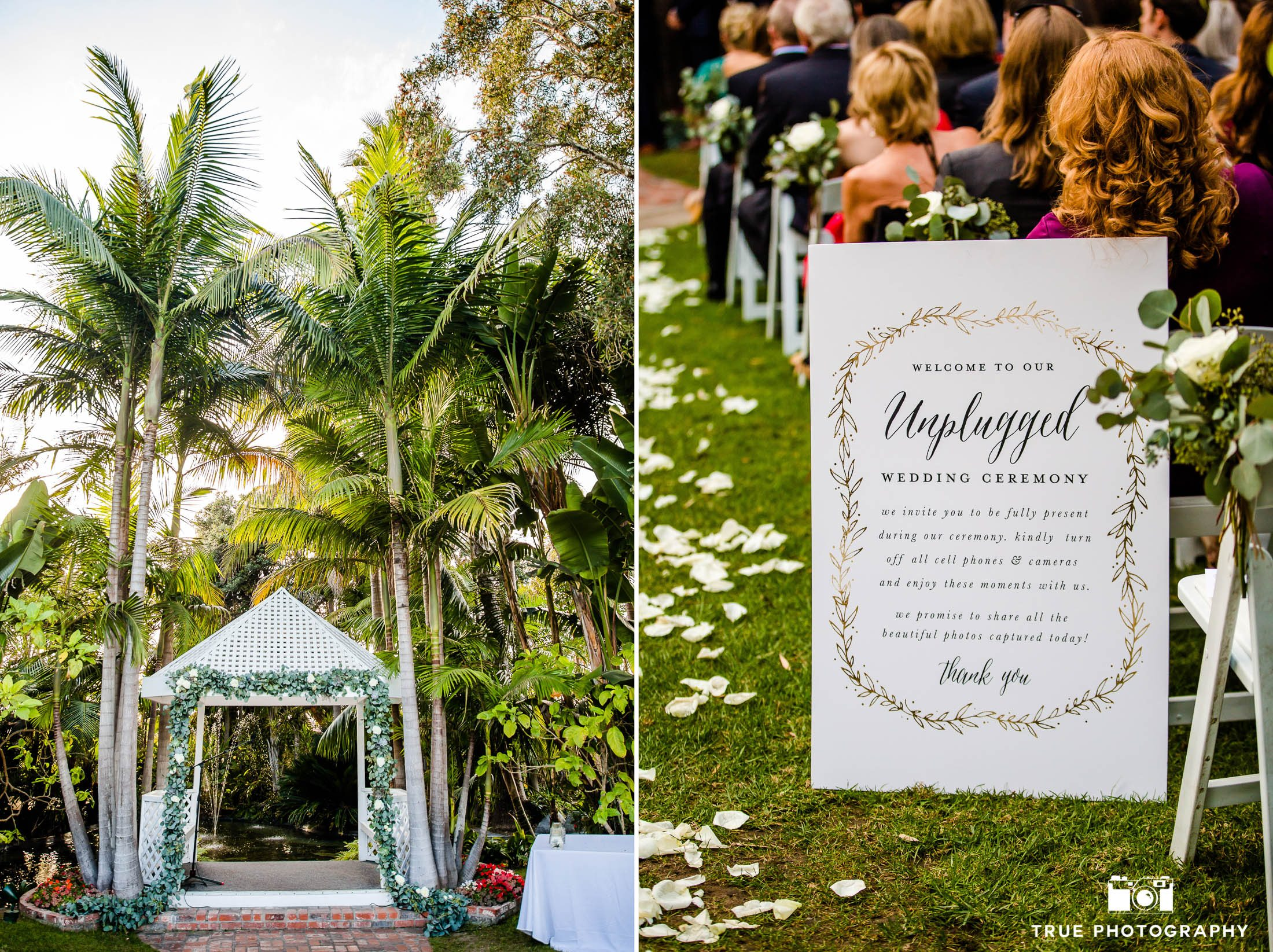 Arch made of eucalyptus garlands at unplugged wedding